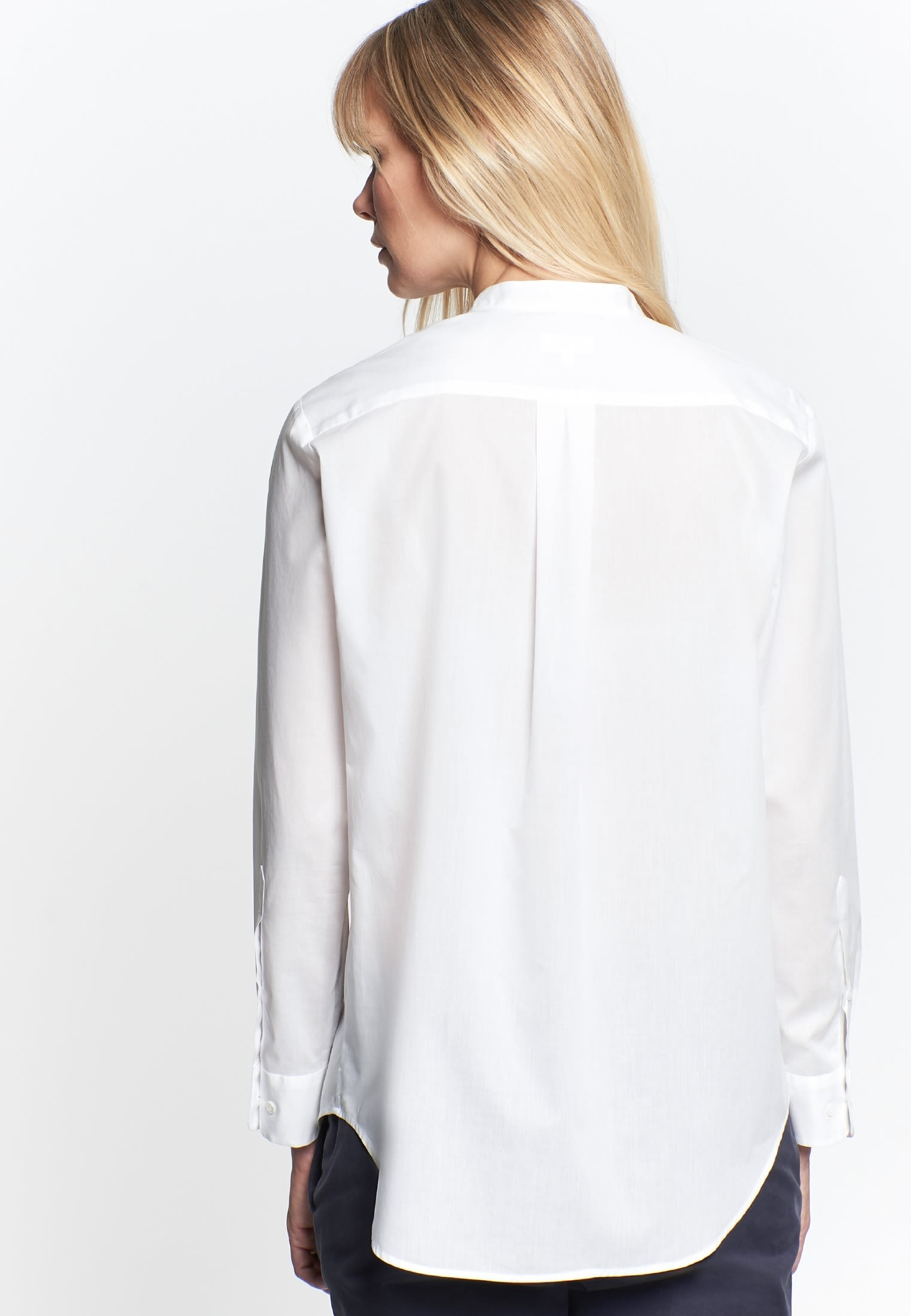 Poplin Stand-Up Blouse made of 100% Cotton in weiß |  Seidensticker Onlineshop