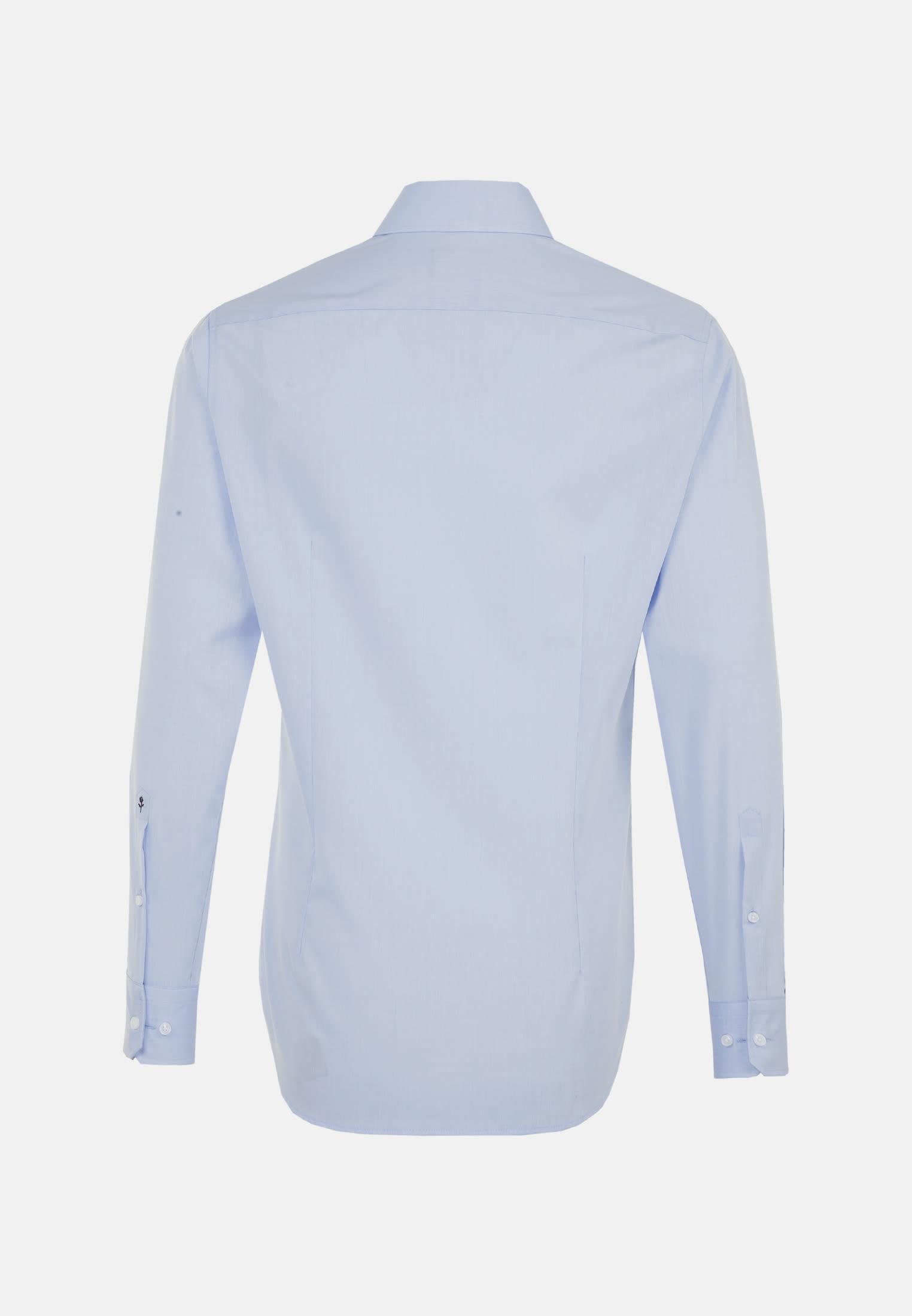 Bügelfreies Chambray Business Hemd in Slim mit Kentkragen in Mittelblau |  Seidensticker Onlineshop