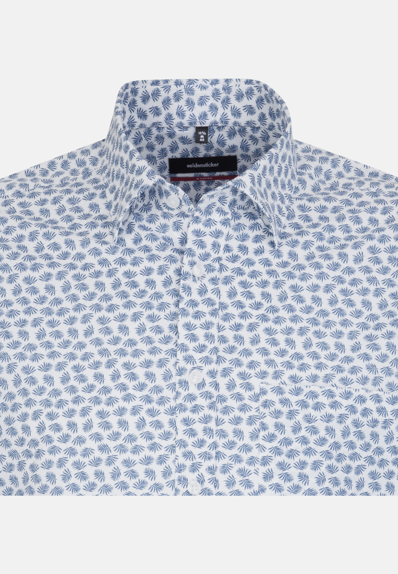 Easy-iron Poplin Business Shirt in Modern with Covered-Button-Down-Collar in Medium blue |  Seidensticker Onlineshop