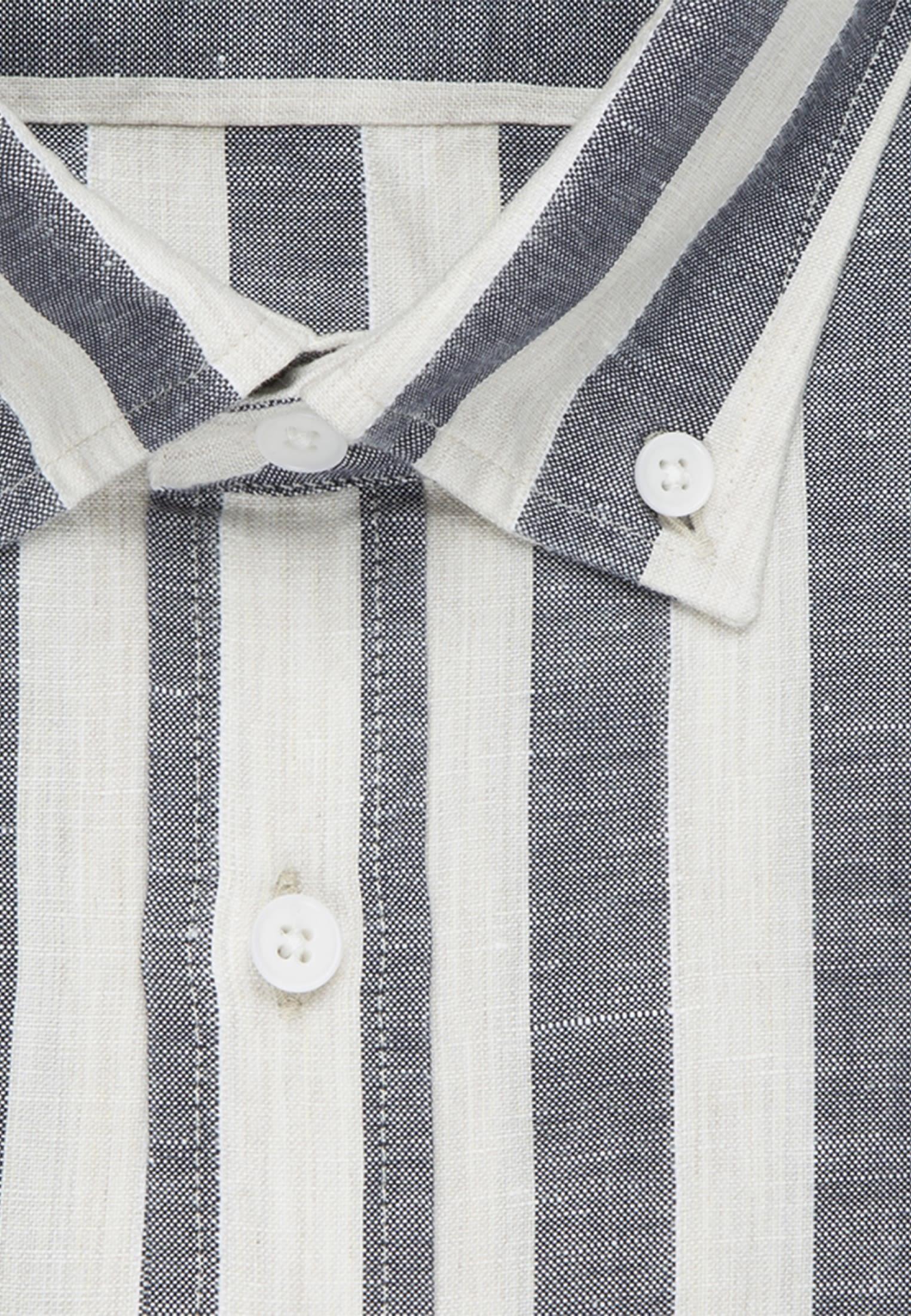 Melange yarns Business Shirt in Tailored with Button-Down-Collar in Dark blue |  Seidensticker Onlineshop