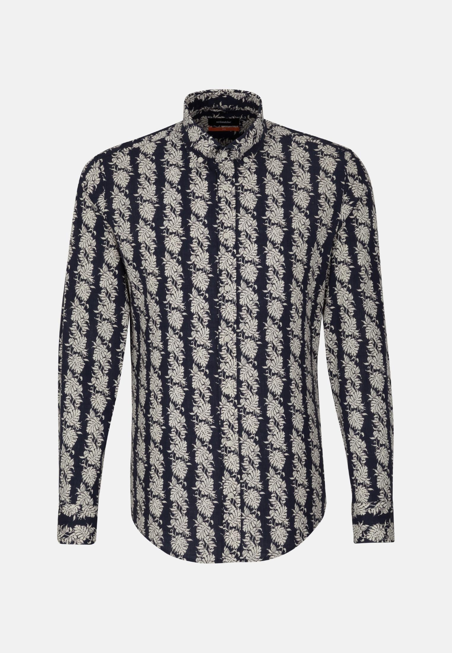 Leinen Business Hemd in Slim mit Button-Down-Kragen in Dunkelblau |  Seidensticker Onlineshop