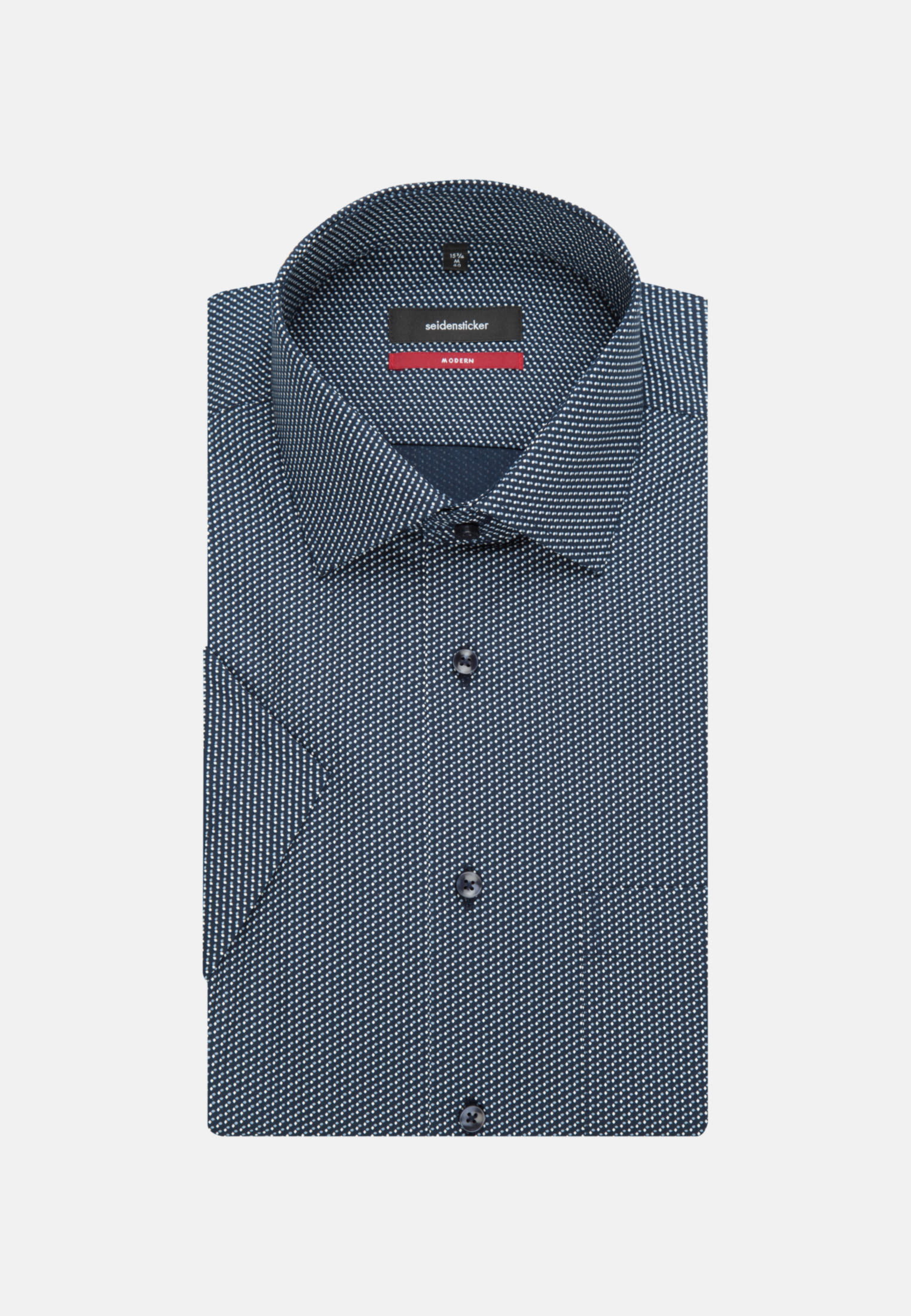 Easy-iron Poplin Short arm Business Shirt in Regular with Kent-Collar in Dark blue |  Seidensticker Onlineshop