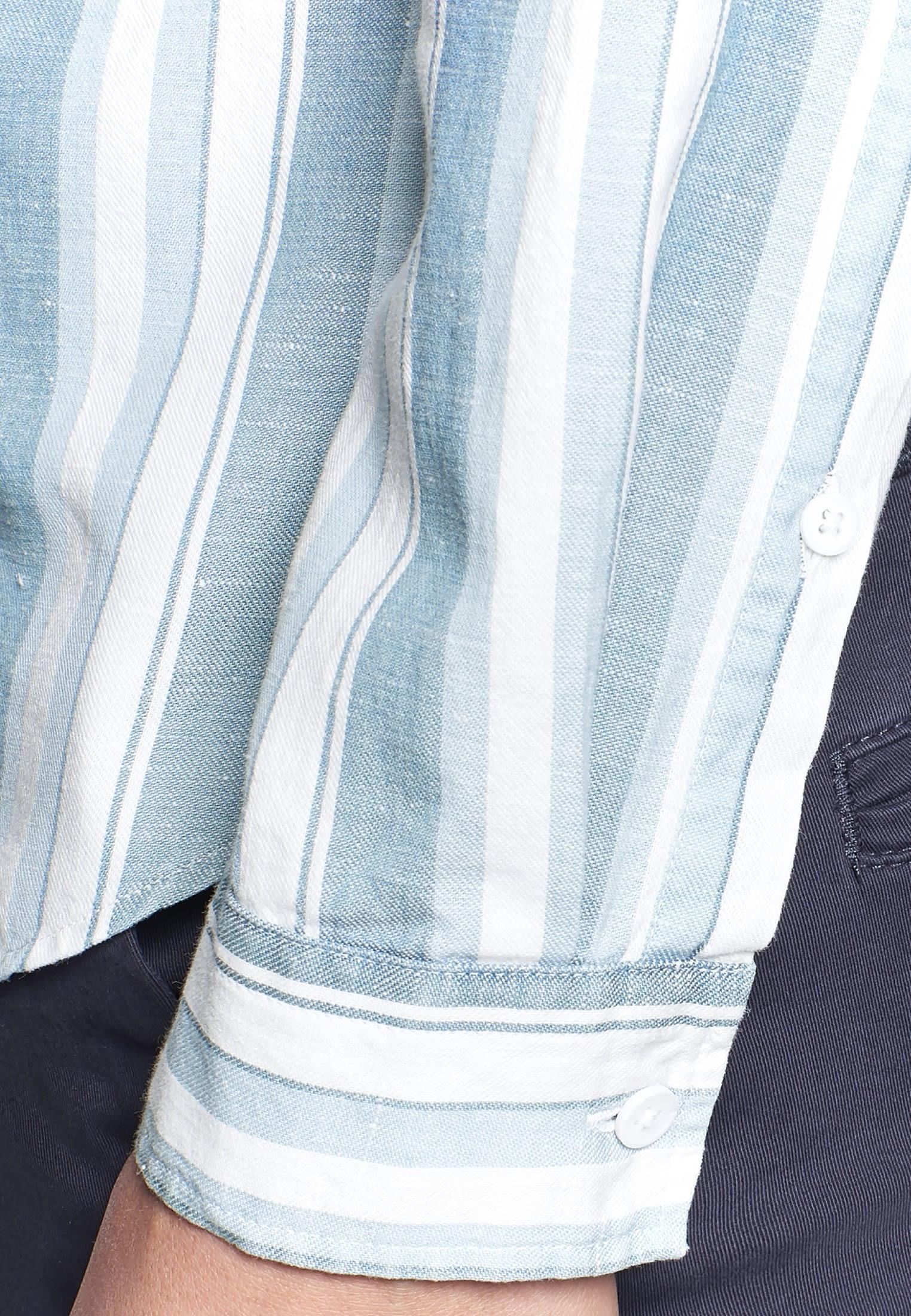 Linen Shirt Blouse made of linen blend in Medium blue    Seidensticker Onlineshop