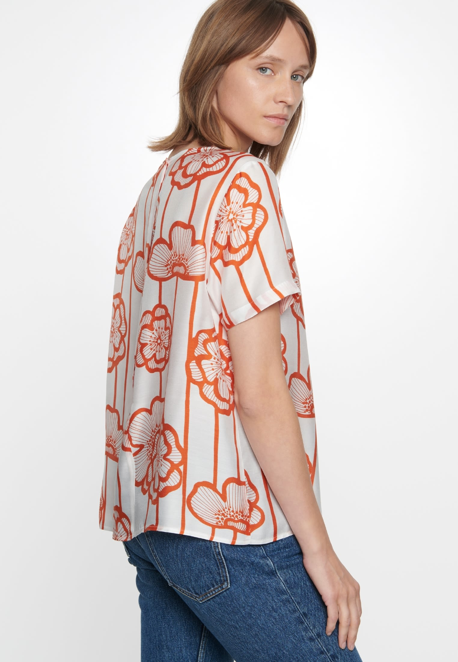 Short sleeve Voile Shirt Blouse made of silk blend in Orange    Seidensticker Onlineshop