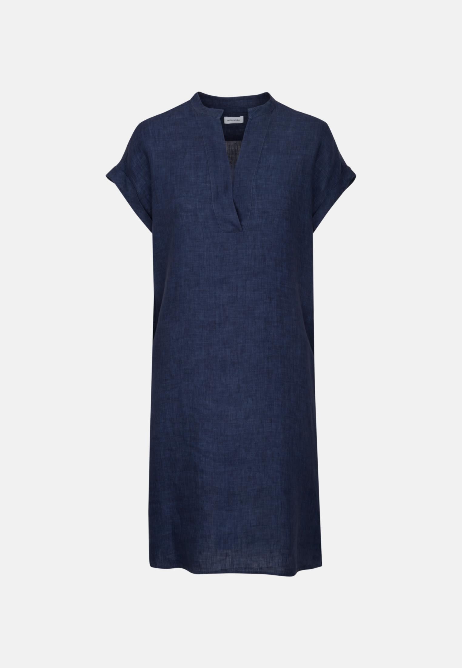 Ärmelloses Leinen Midi Kleid aus 100% Leinen/Flachs in Dunkelblau |  Seidensticker Onlineshop