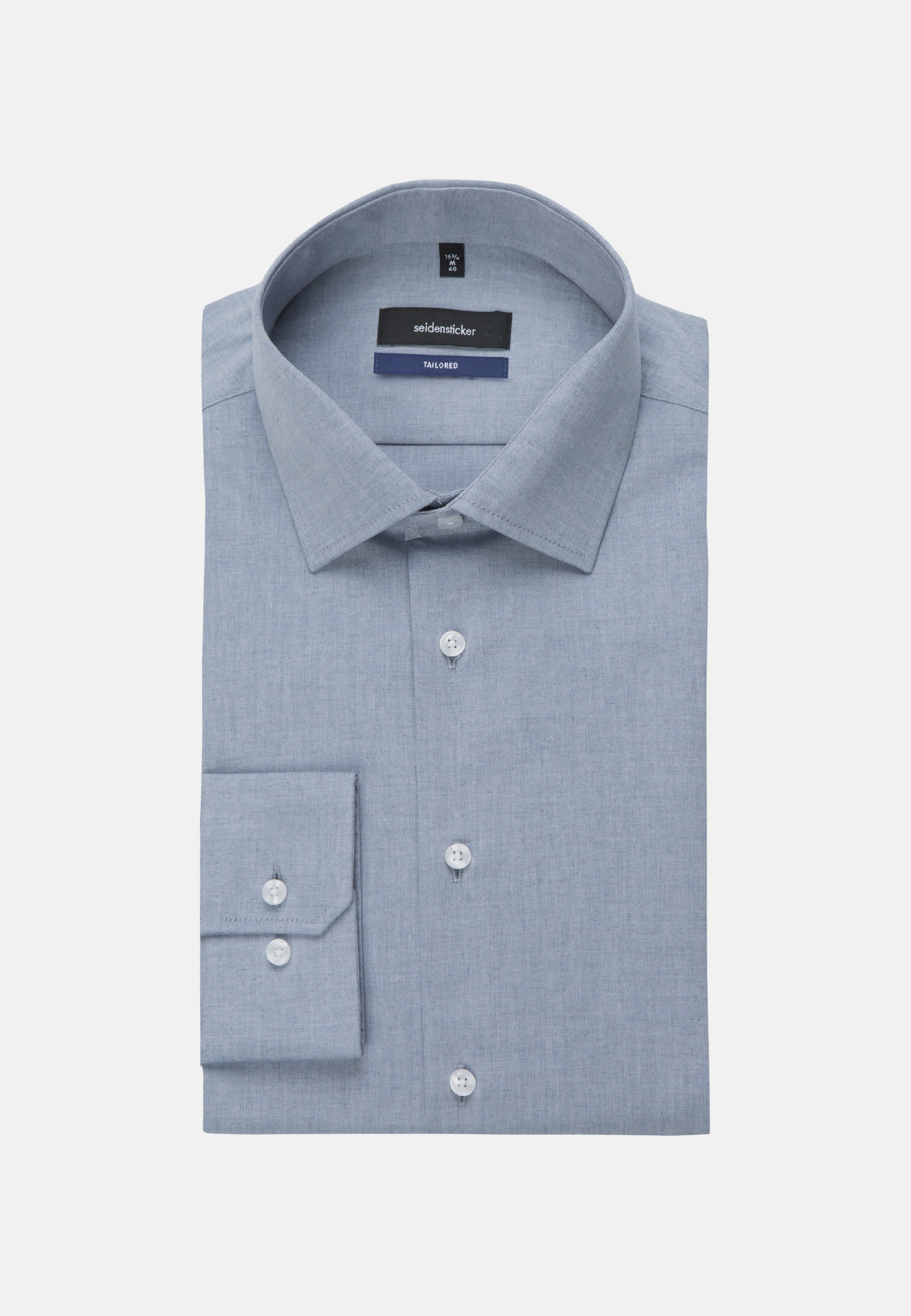 Easy-iron Melange yarns Business Shirt in Tailored with Kent-Collar in Medium blue |  Seidensticker Onlineshop