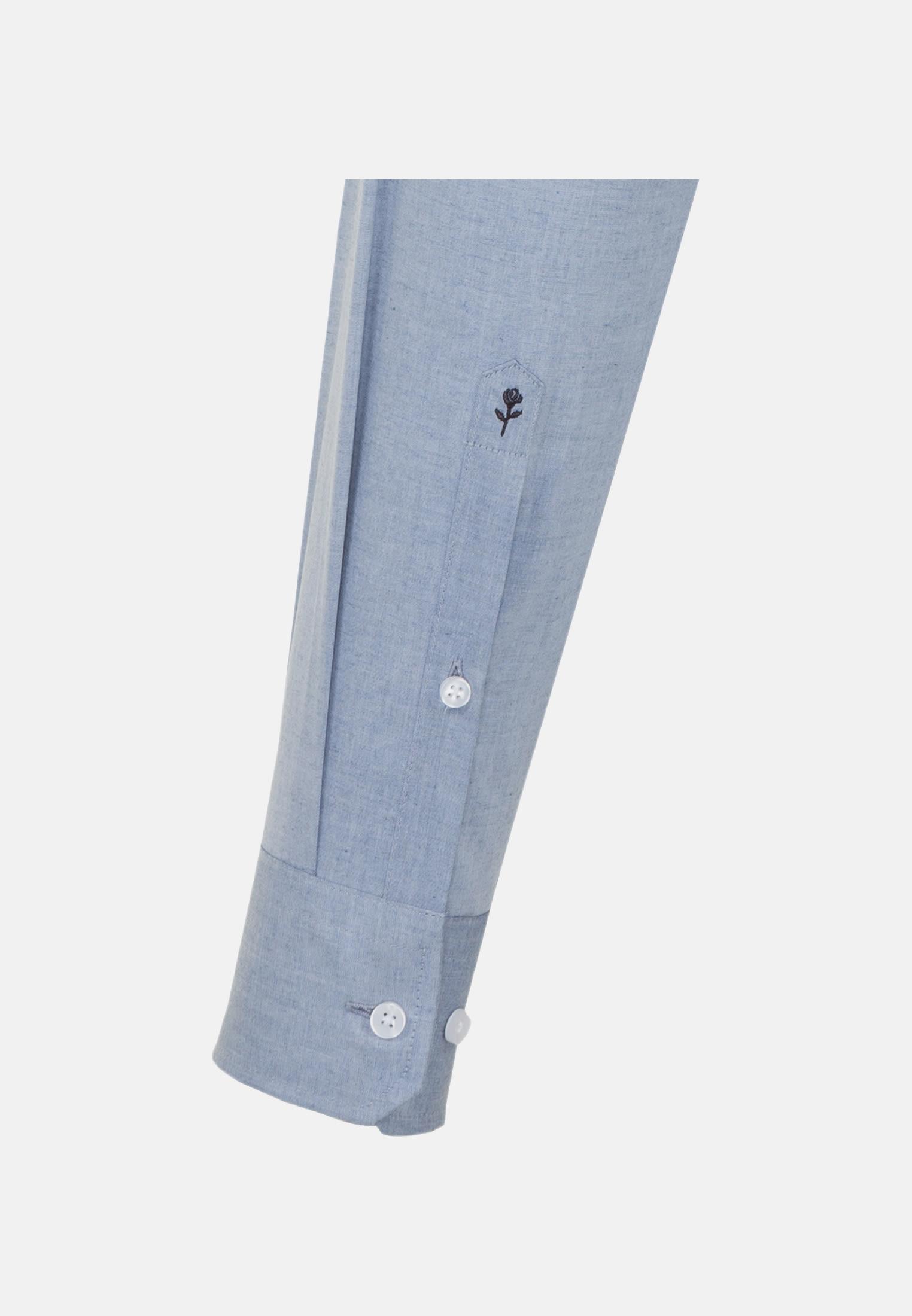 Bügelleichtes Melange Garne Business Hemd in X-Slim mit Kentkragen in Mittelblau |  Seidensticker Onlineshop