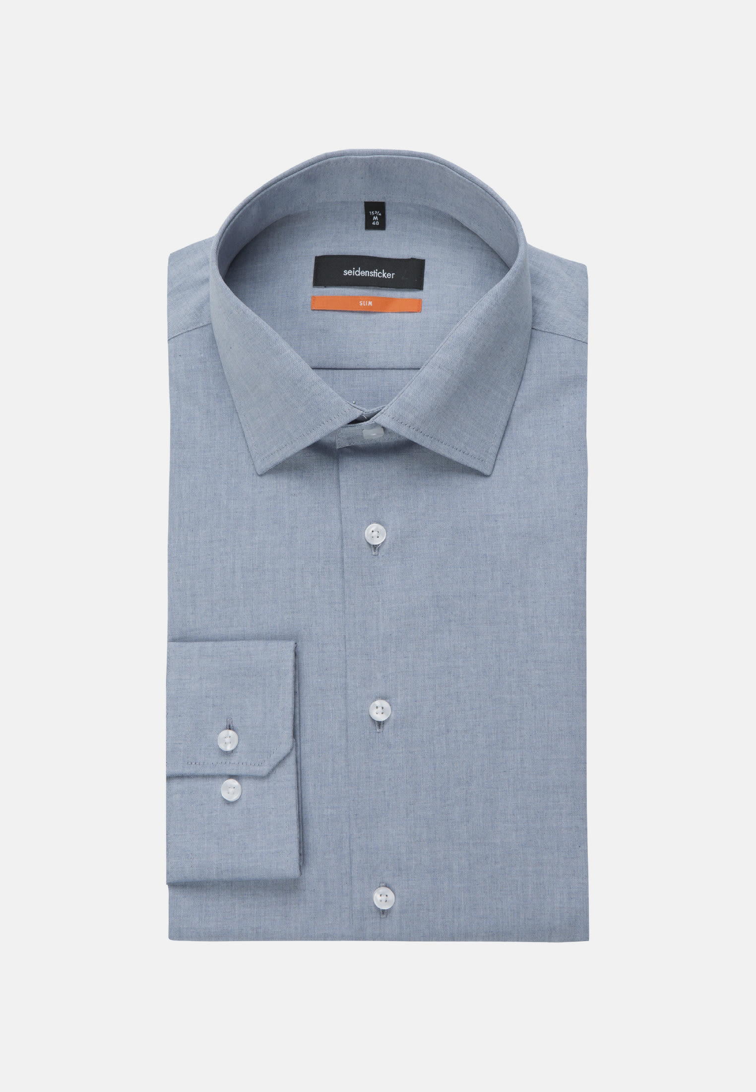 Easy-iron Melange yarns Business Shirt in Slim with Kent-Collar in Medium blue |  Seidensticker Onlineshop