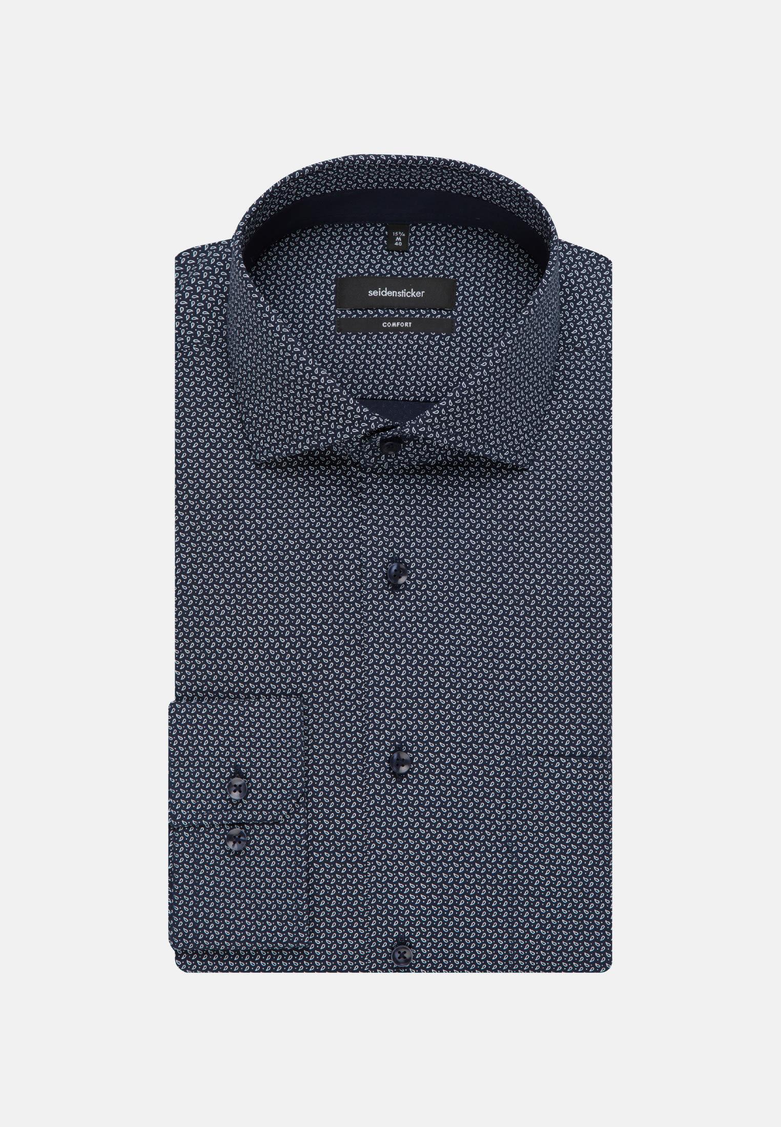 Easy-iron Poplin Business Shirt in Comfort with Kent-Collar in Dark blue    Seidensticker Onlineshop