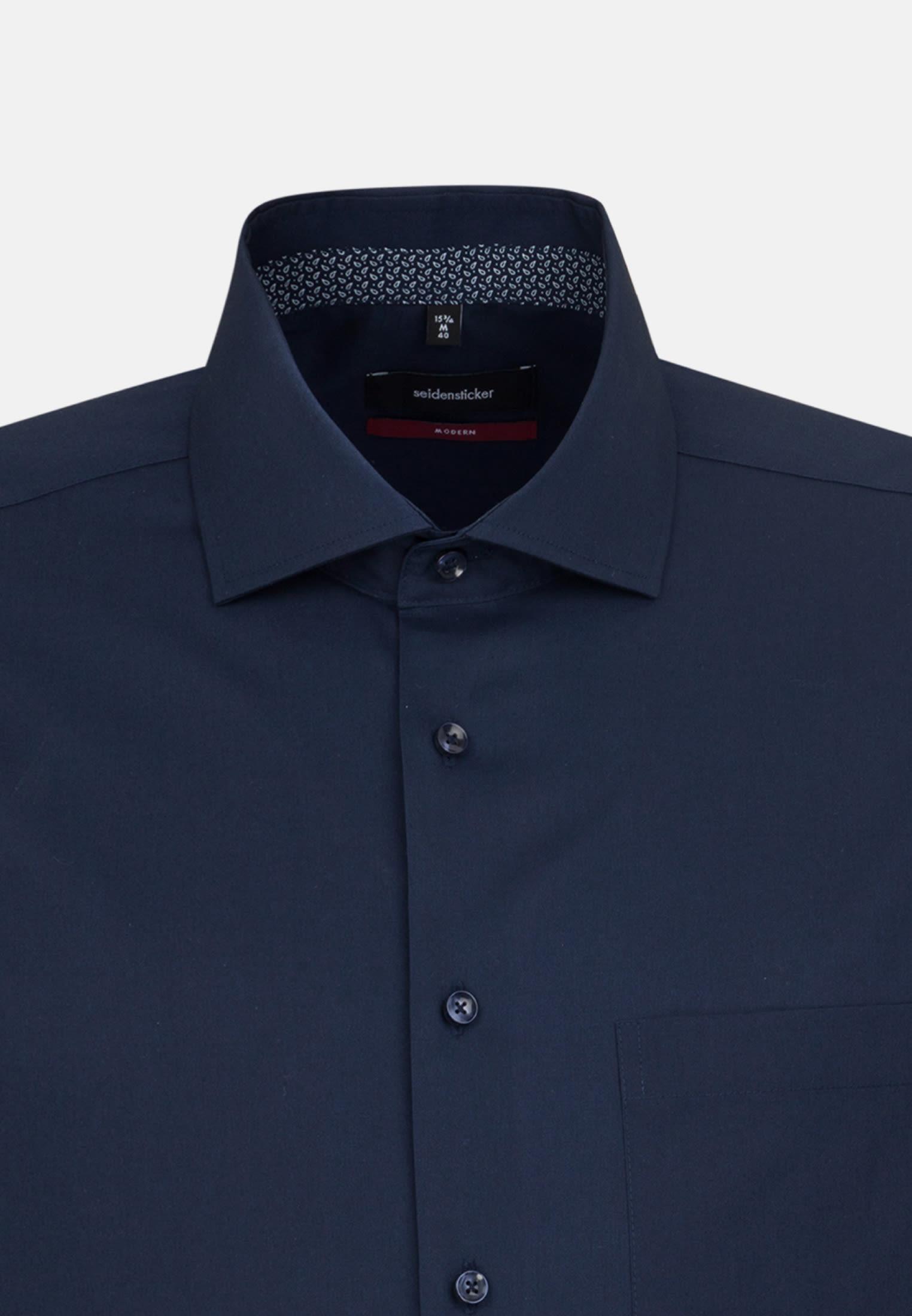 Non-iron Poplin Business Shirt in Modern with Kent-Collar in Dark blue |  Seidensticker Onlineshop