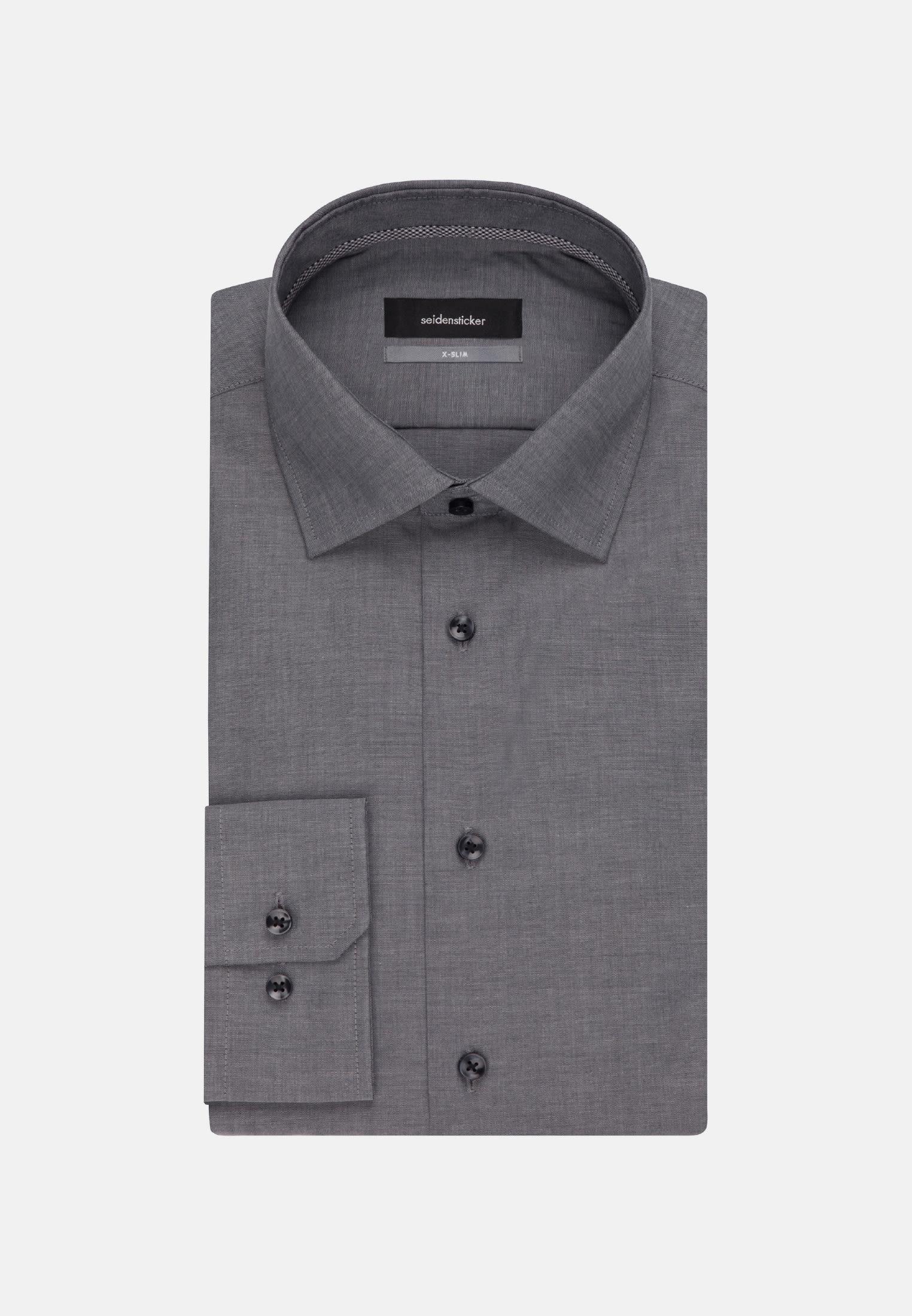 Bügelfreies Chambray Business Hemd in X-Slim mit Kentkragen in Grau    Seidensticker Onlineshop