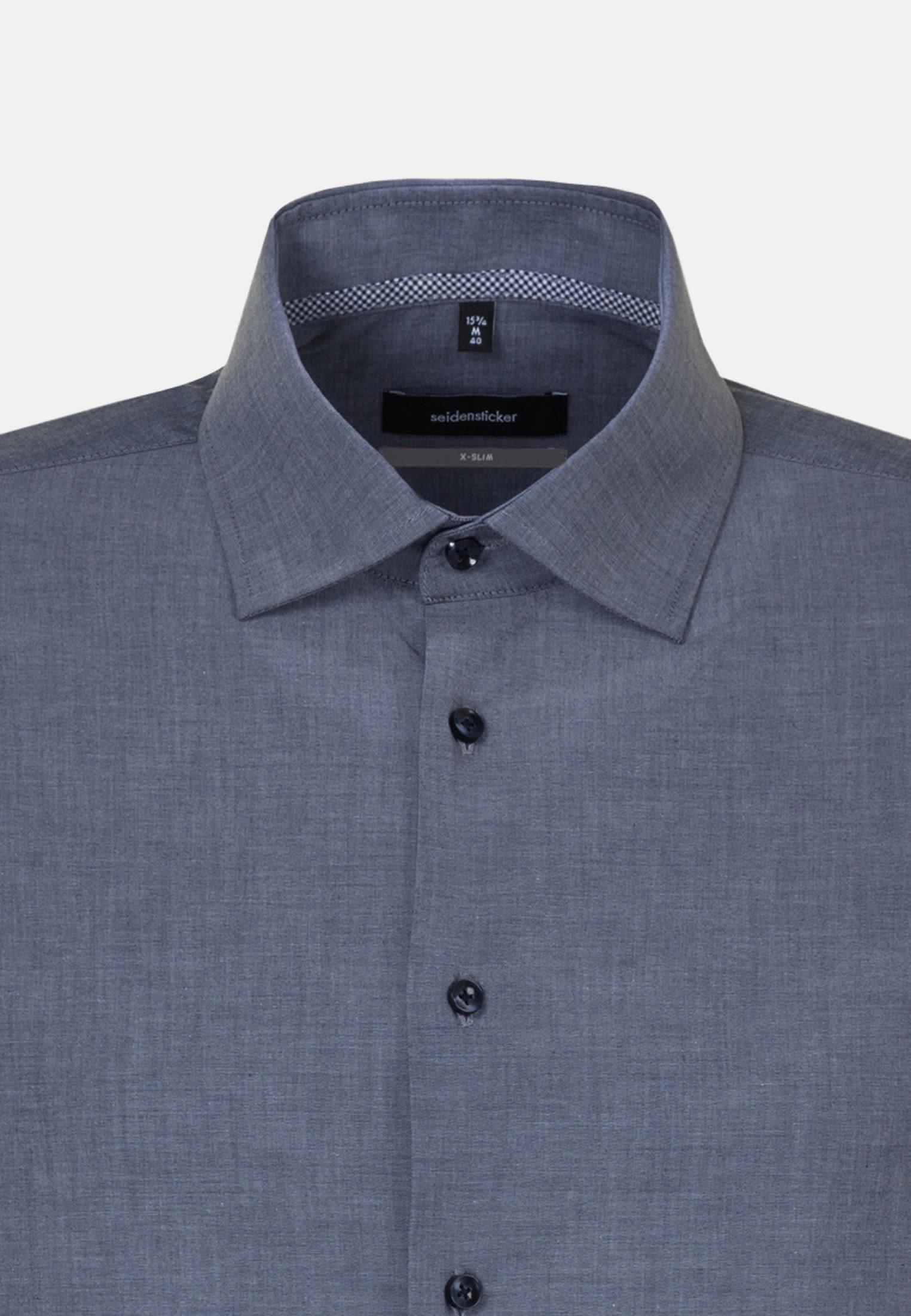 Bügelfreies Chambray Business Hemd in X-Slim mit Kentkragen in Dunkelblau    Seidensticker Onlineshop