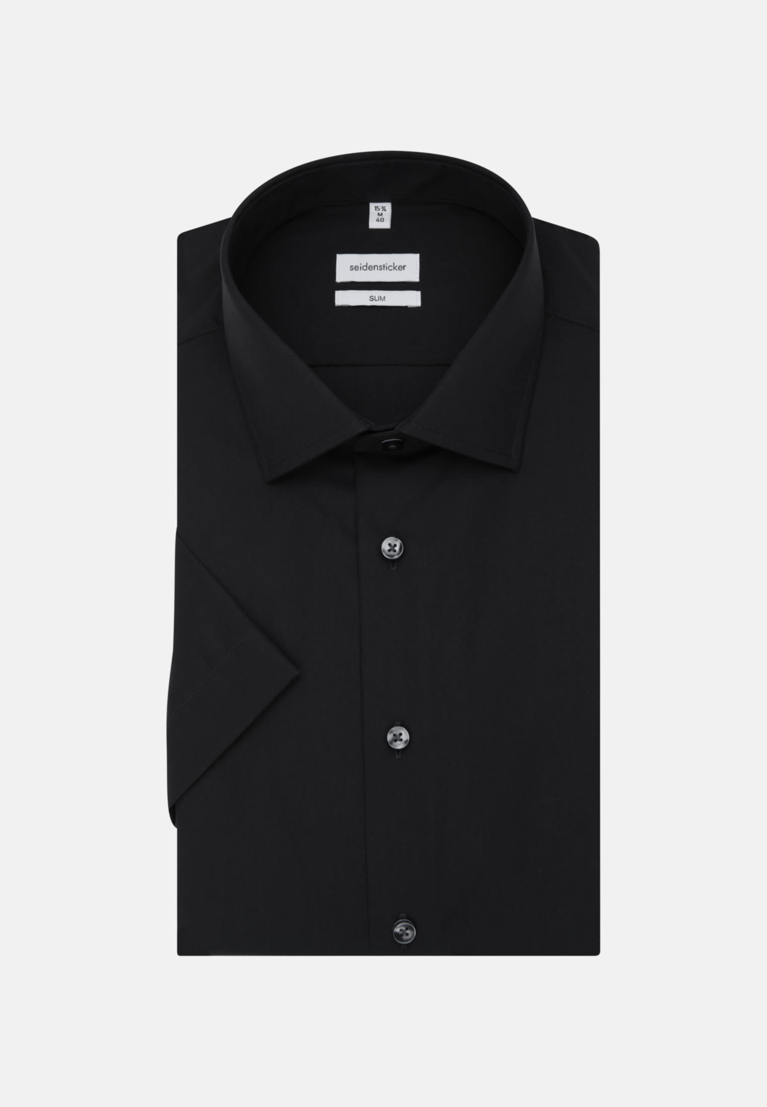 Seidensticker Schwarze Rose Hemd Tailored Fit Schwarz Halbarm Popeline Kent