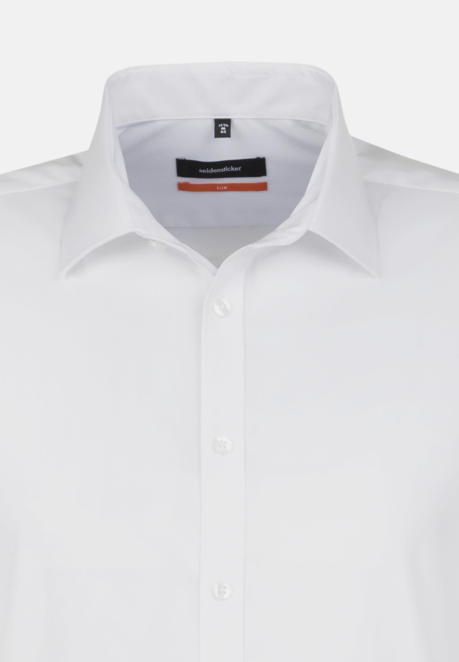 Non-iron Poplin Short arm Business Shirt in Slim with Kent-Collar in weiß |  Seidensticker Onlineshop