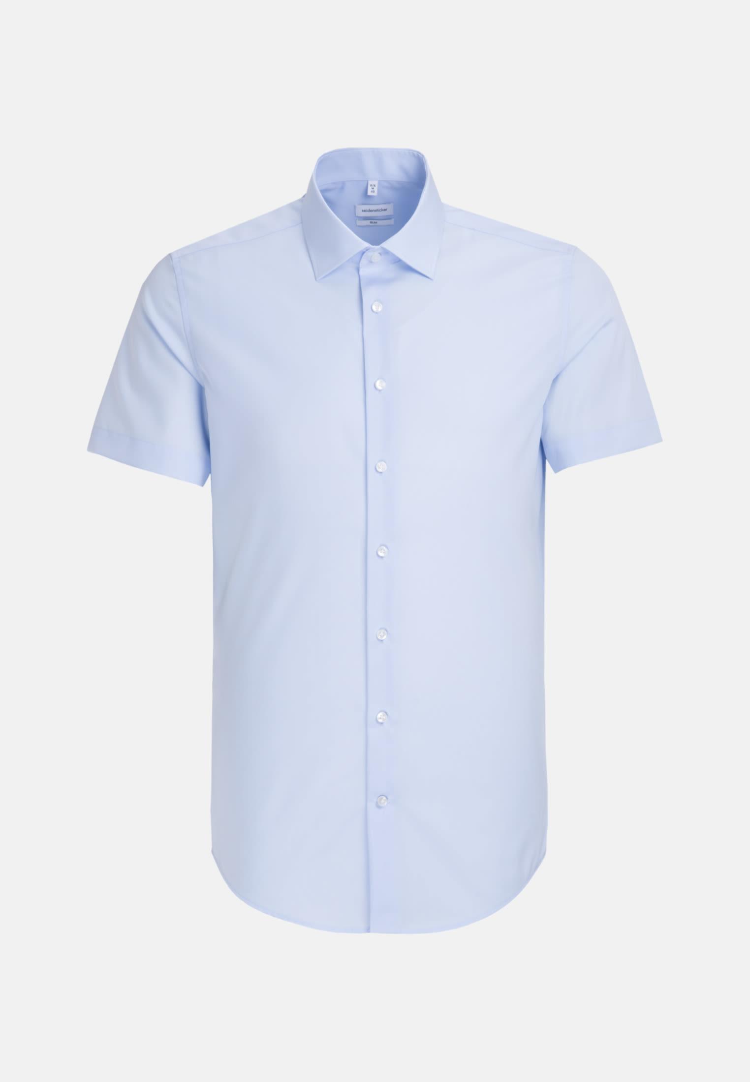 Non-iron Poplin Short sleeve Business Shirt in Slim with Kent-Collar in Medium blue    Seidensticker Onlineshop