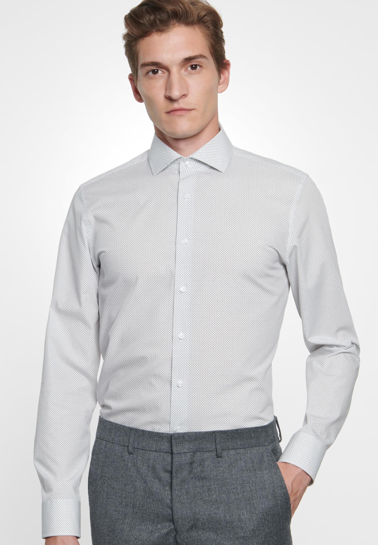Bügelleichtes Popeline Business Hemd in Shaped mit Kentkragen in Schwarz |  Seidensticker Onlineshop