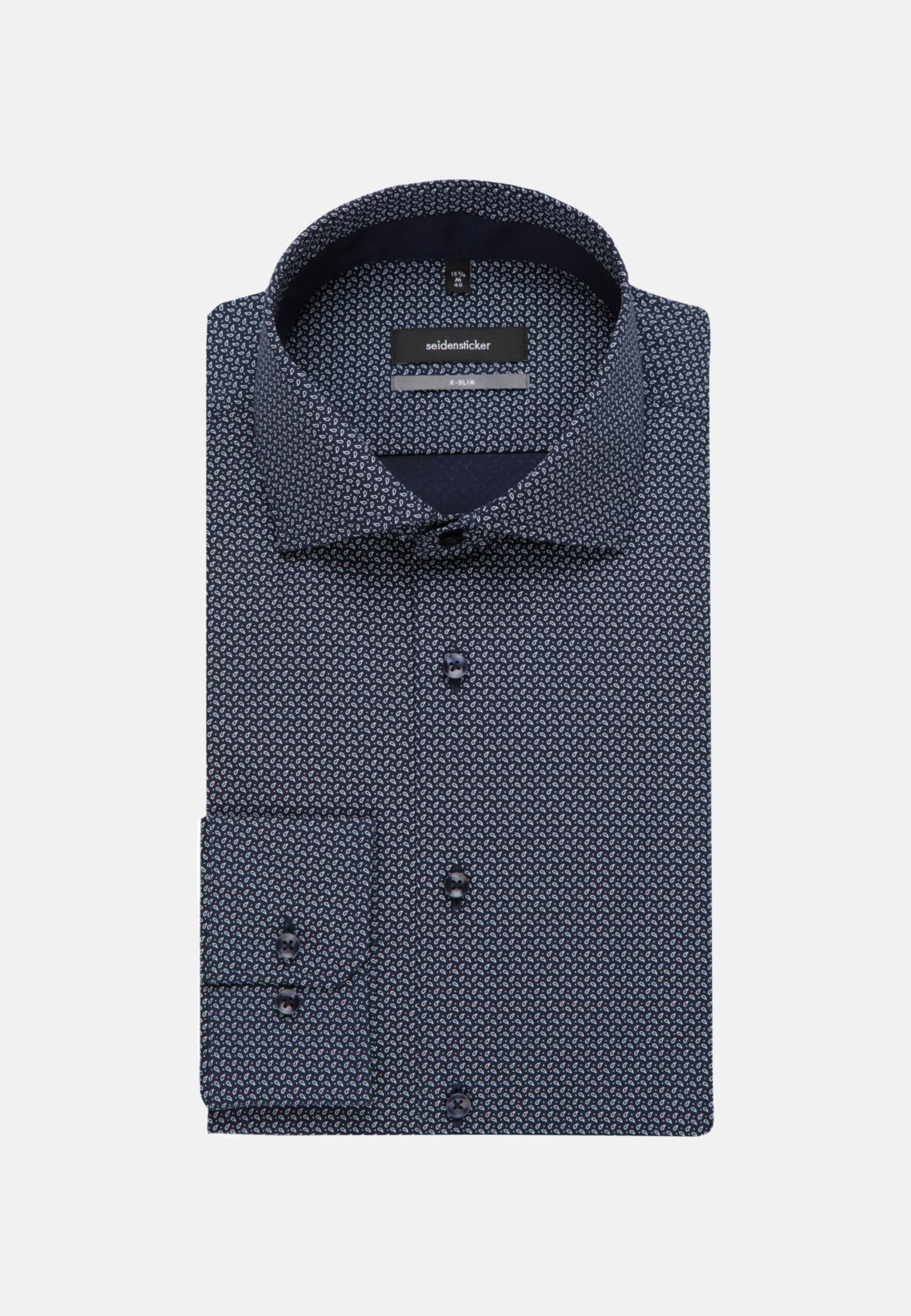 Bügelleichtes Popeline Business Hemd in X-Slim mit Kentkragen in Dunkelblau    Seidensticker Onlineshop