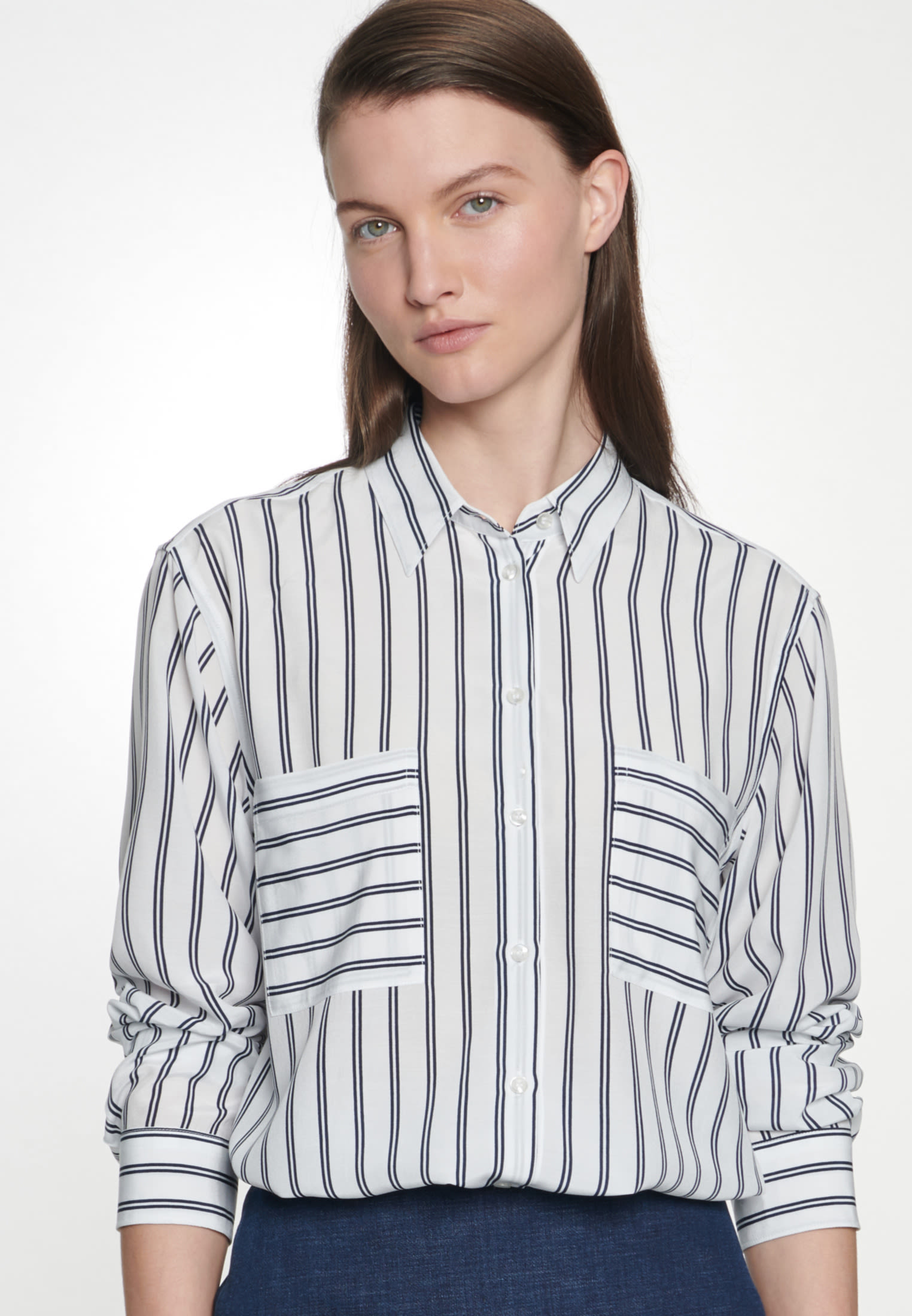 Crepe Shirt Blouse made of 100% Viscose in Dark blue |  Seidensticker Onlineshop