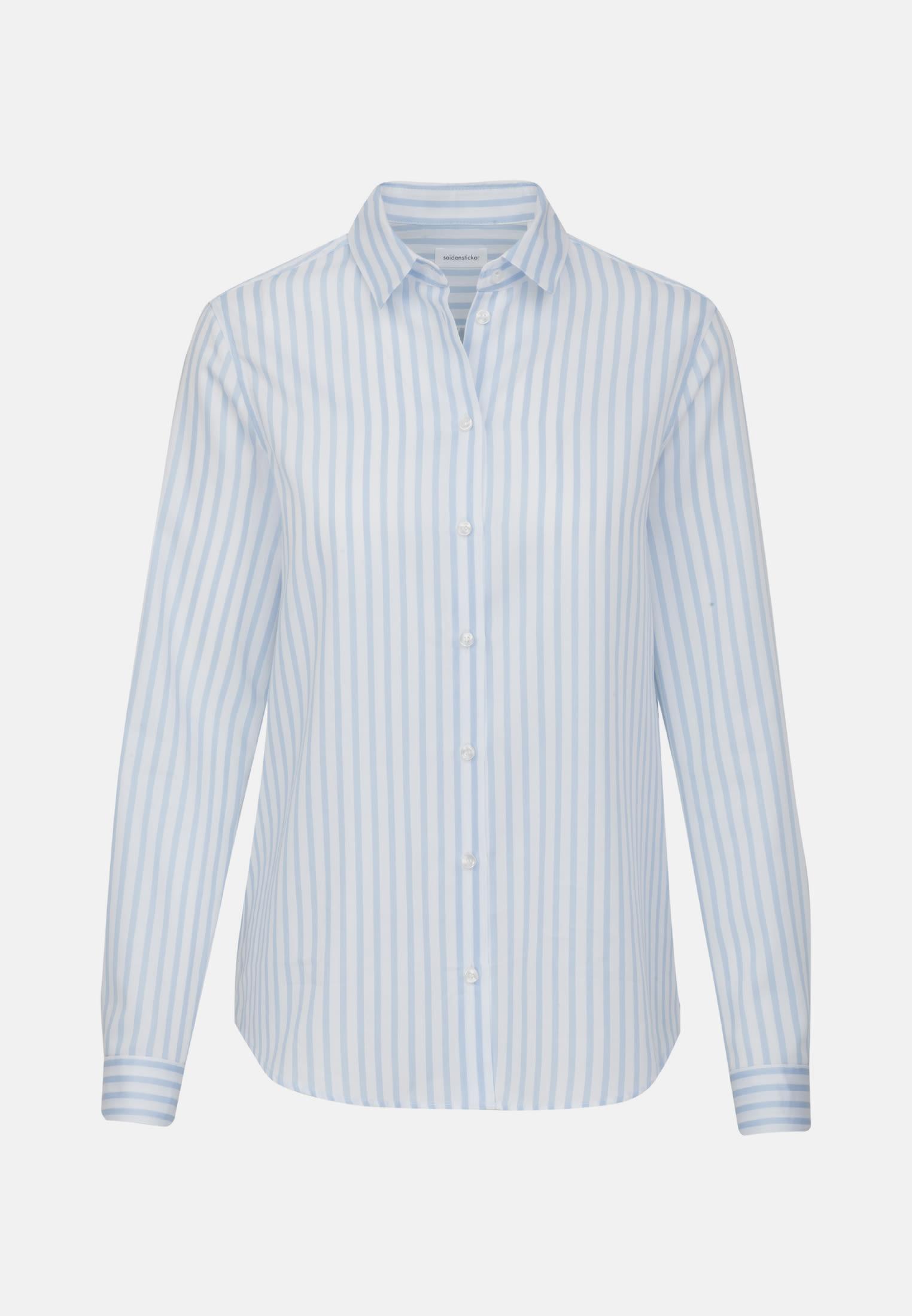 Satin Shirt Blouse made of 100% Cotton in Light blue    Seidensticker Onlineshop