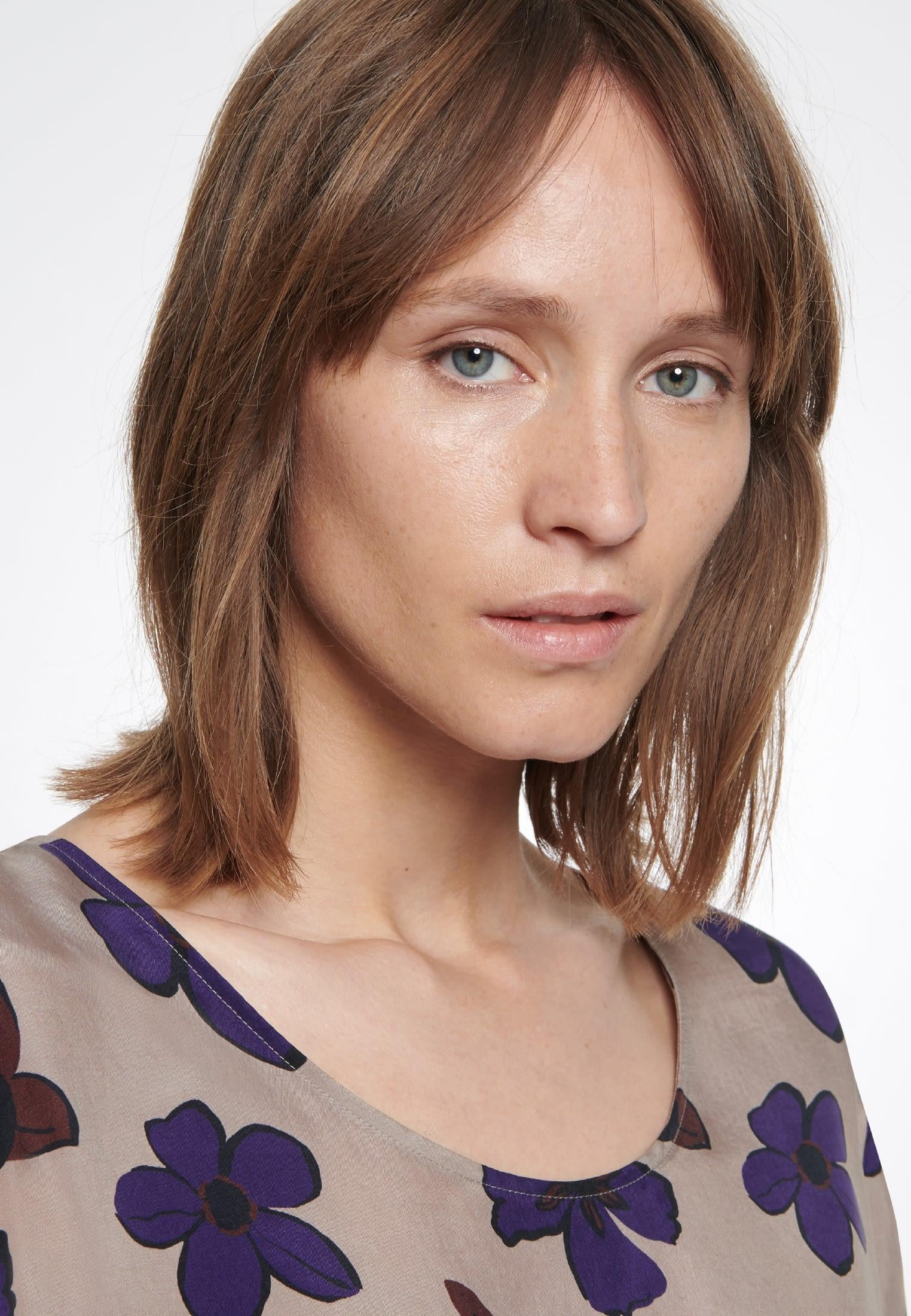 Kurzarm Shirtbluse aus 100% Cupro in Braun |  Seidensticker Onlineshop