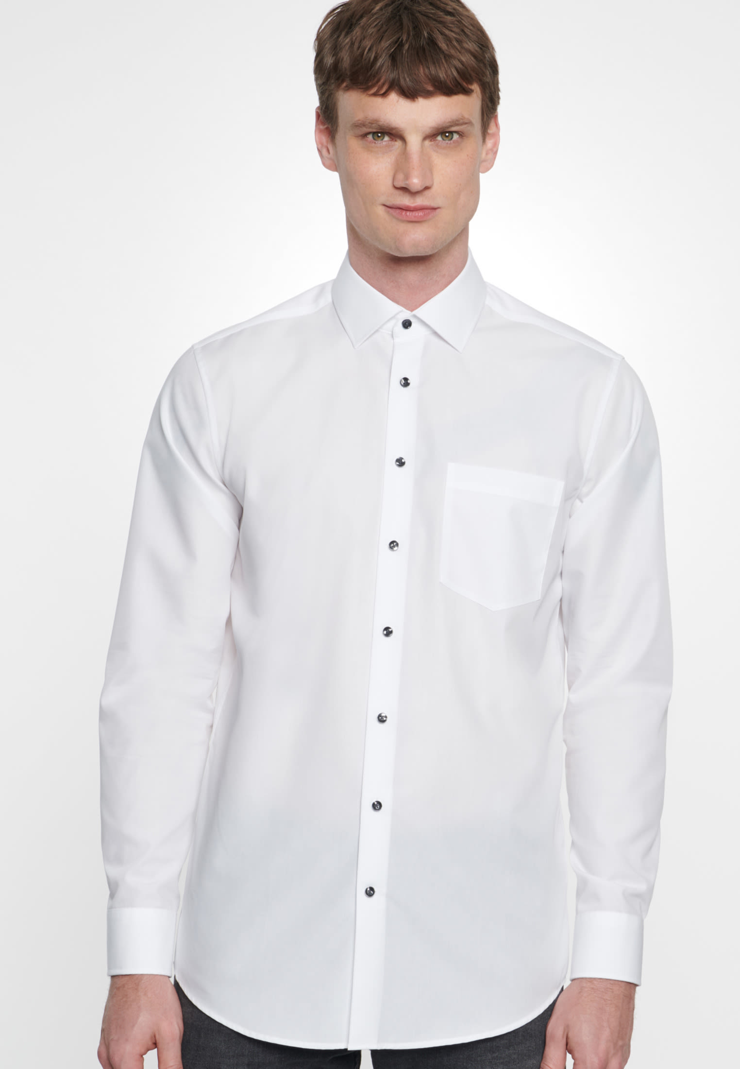 Non-iron Chambray Business Shirt in Modern with Kent-Collar in White |  Seidensticker Onlineshop