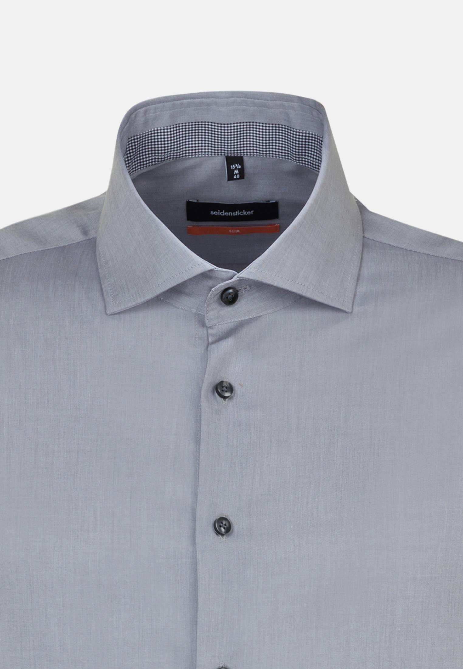 Bügelfreies Popeline Business Hemd in Slim mit Kentkragen in Grau    Seidensticker Onlineshop