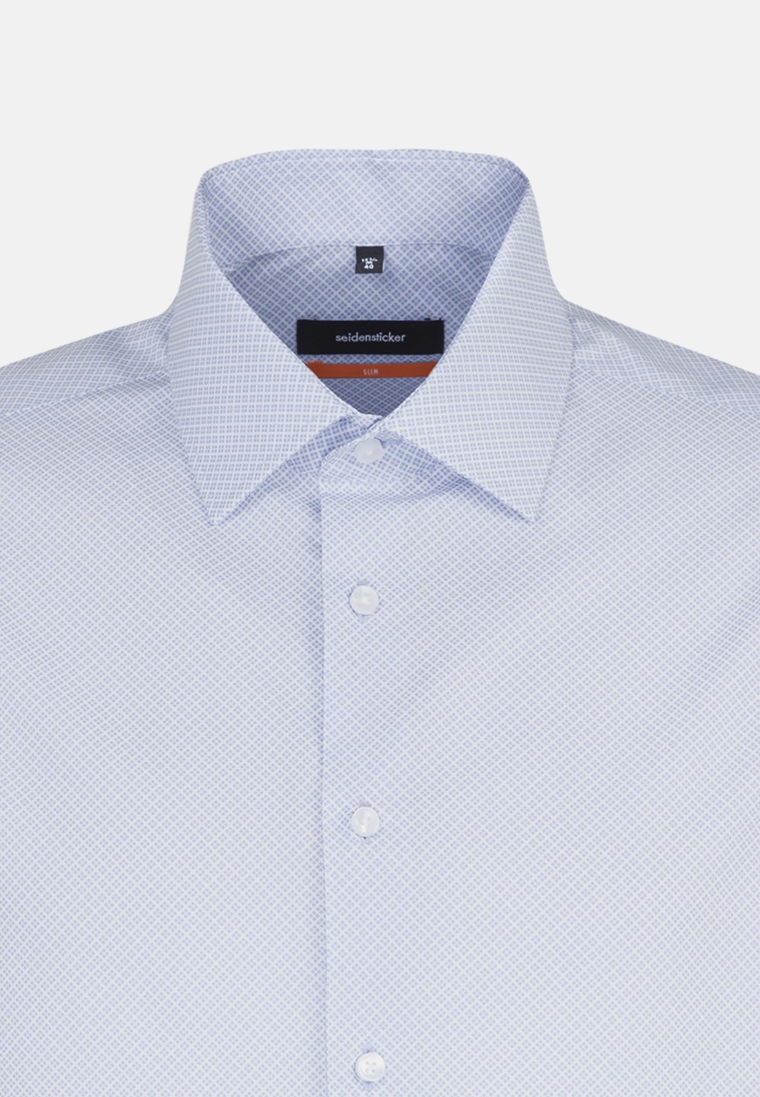 Easy-iron Poplin Business Shirt in Slim with Kent-Collar and extra short arm in blau    Seidensticker Onlineshop