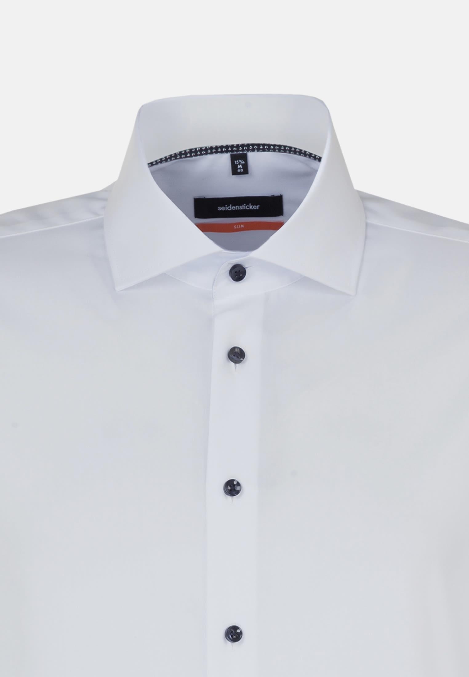 Non-iron Fil a fil Business Shirt in Slim with Kent-Collar in weiß |  Seidensticker Onlineshop