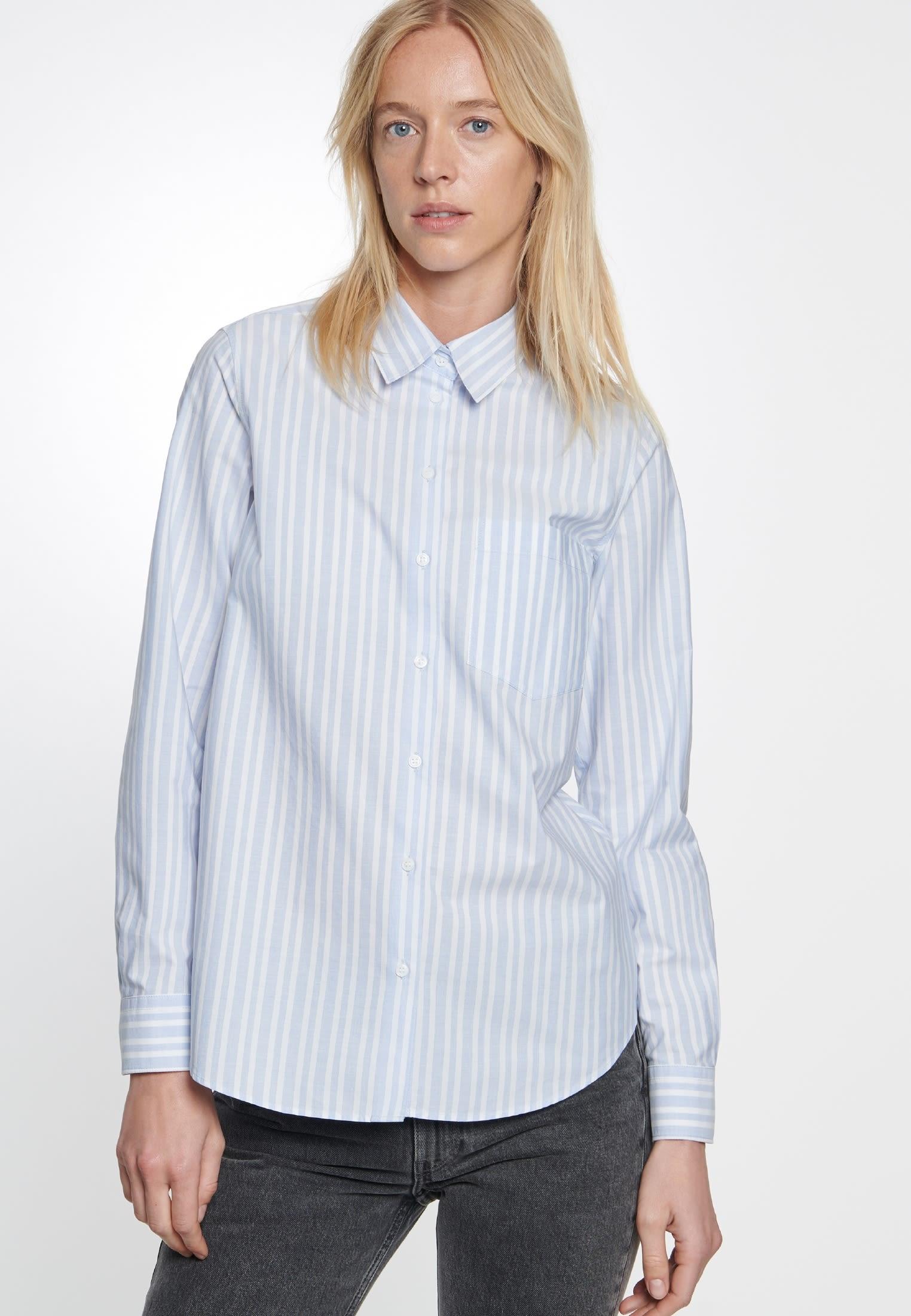 Fil a fil Shirt Blouse made of 100% Cotton in blau-weiß |  Seidensticker Onlineshop