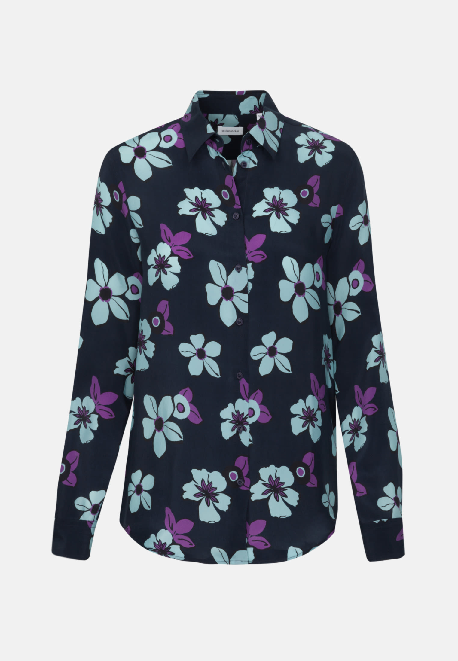 Shirt Blouse made of 100% Cupro in Dark blue |  Seidensticker Onlineshop