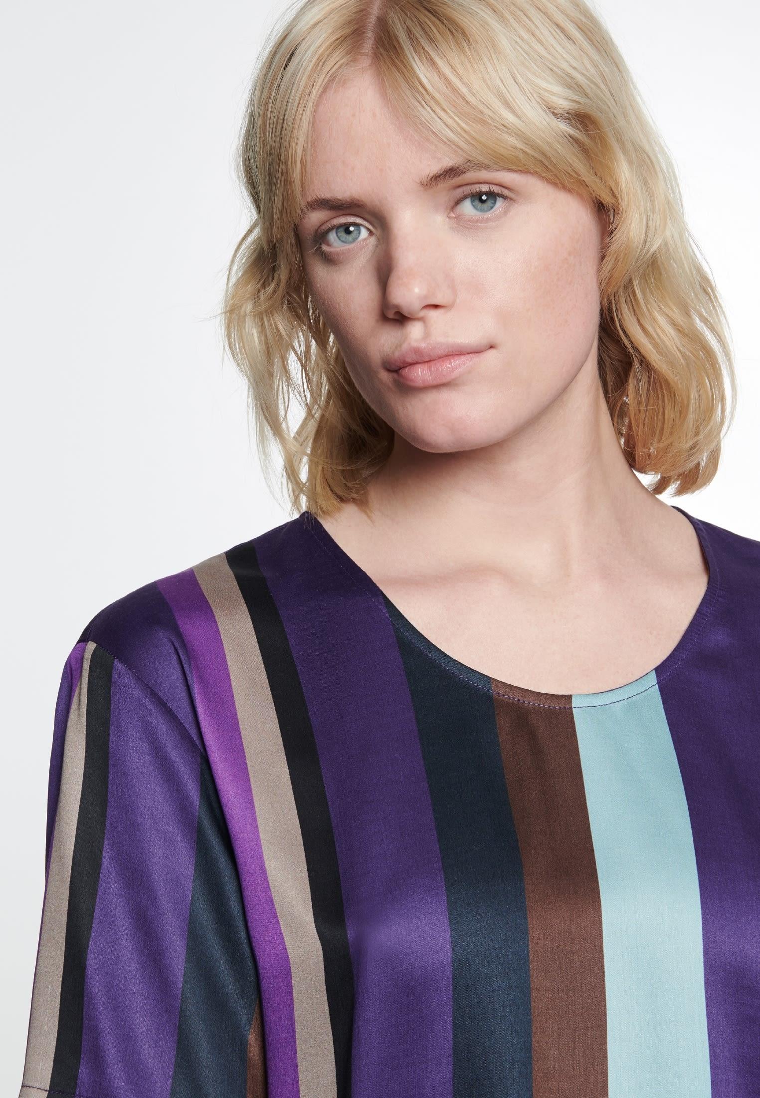 Kurzarm Satin Shirtbluse aus 100% Viskose in Lila |  Seidensticker Onlineshop