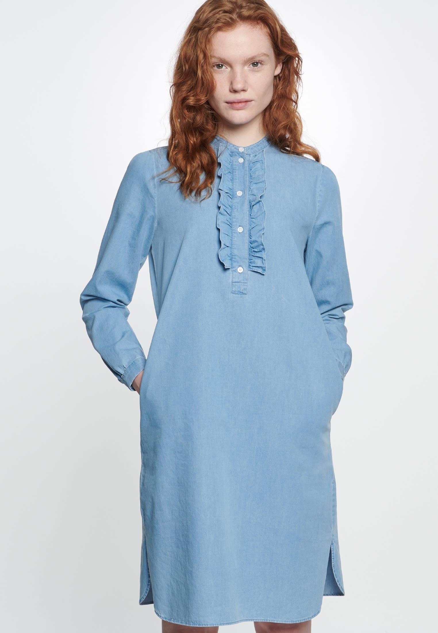 Denim Midi Kleid aus 100% Baumwolle in Mittelblau |  Seidensticker Onlineshop