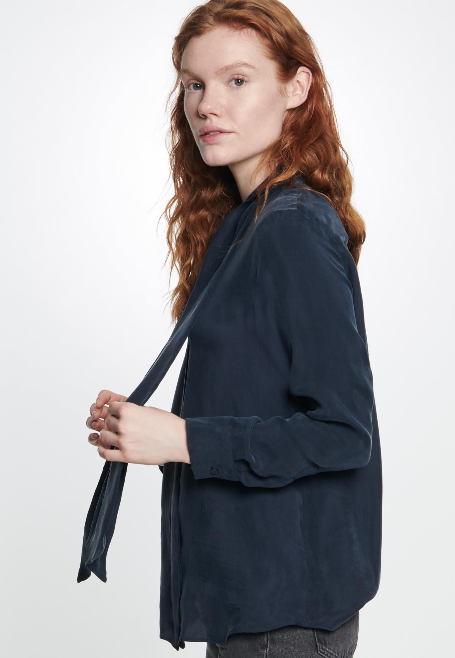 Tie-Neck Blouse made of rayon blend in Dark blue |  Seidensticker Onlineshop