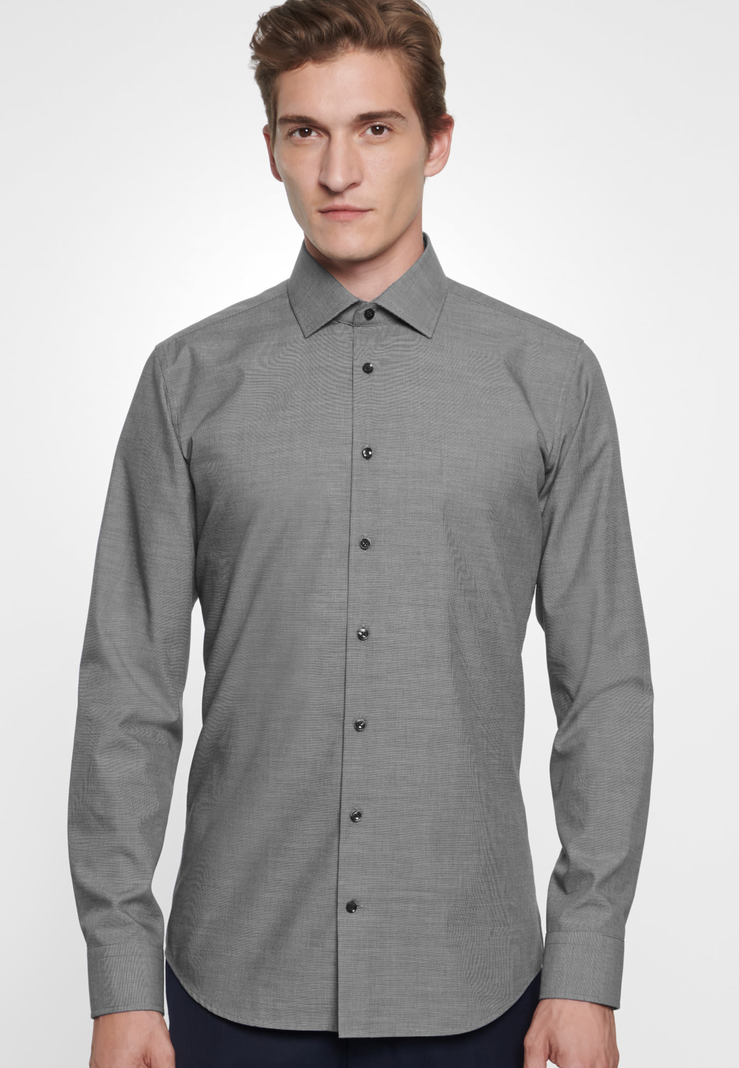 Non-iron Structure Business Shirt in X-Slim with Kent-Collar in Grey |  Seidensticker Onlineshop