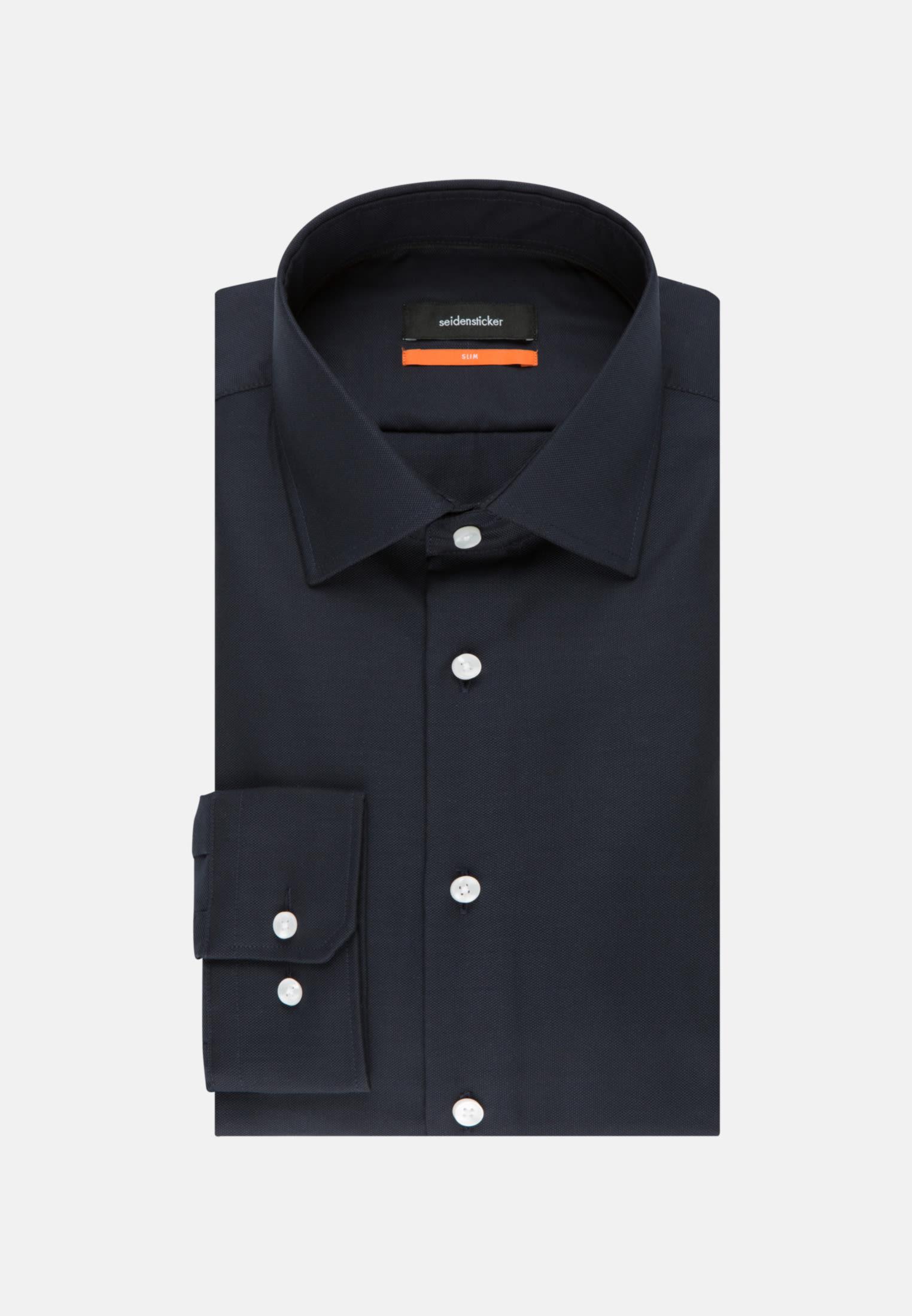 Non-iron Structure Business Shirt in Slim with Kent-Collar in Dark blue |  Seidensticker Onlineshop