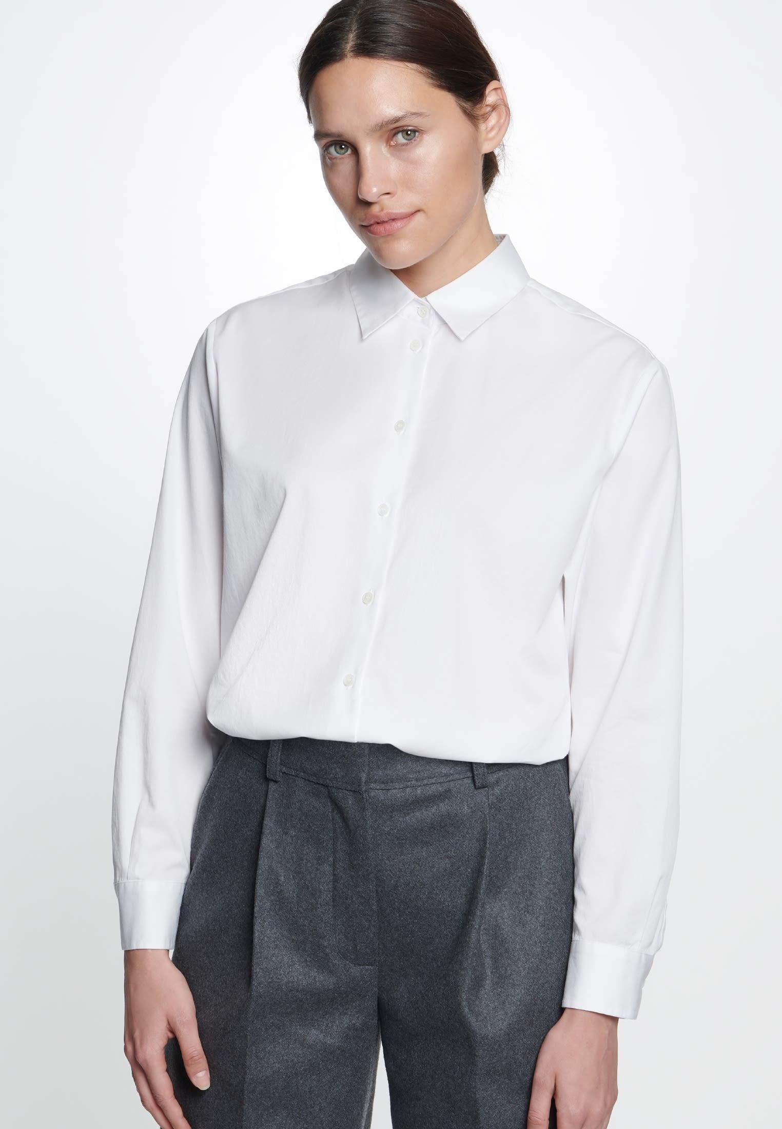 Twill Shirt Blouse made of 100% Cotton in White |  Seidensticker Onlineshop