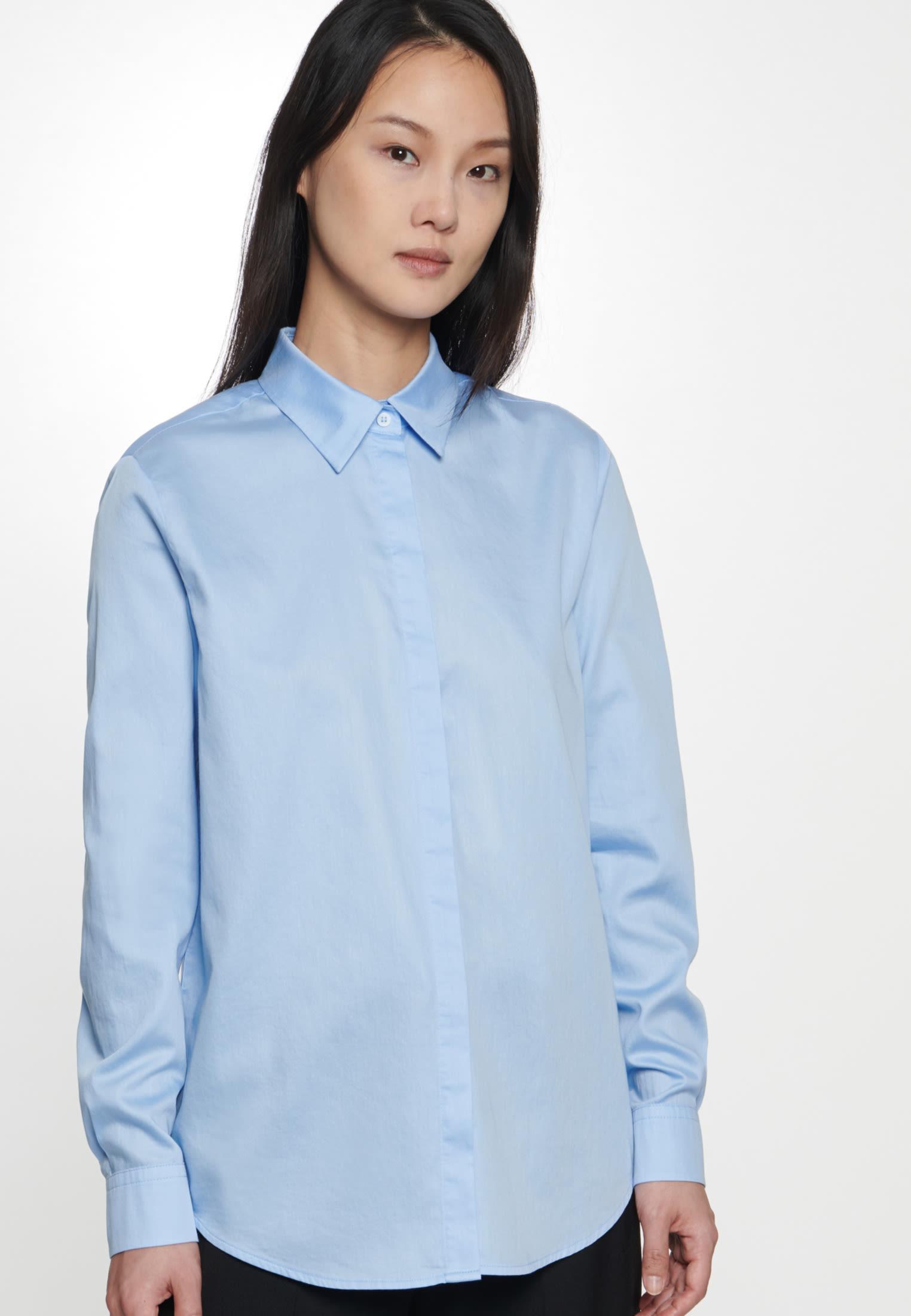 Satin Shirt Blouse made of 100% Cotton in Light blue |  Seidensticker Onlineshop