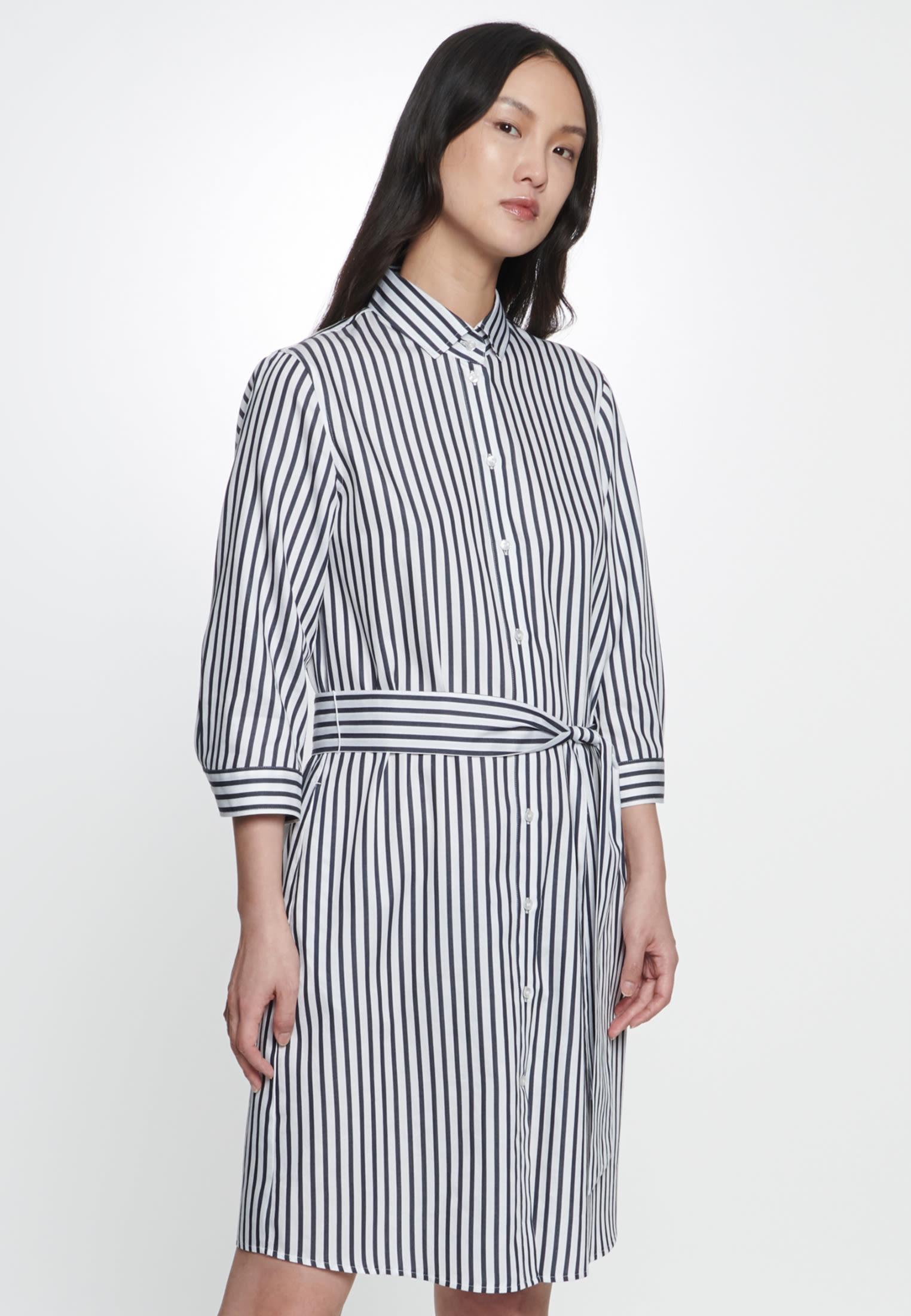 Satin Kleid aus 100% Baumwolle in Dunkelblau |  Seidensticker Onlineshop