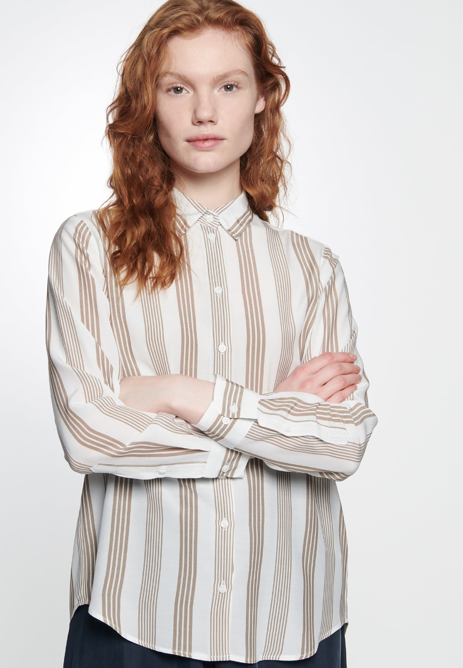 Crepe Shirt Blouse made of 100% Viscose in Brown |  Seidensticker Onlineshop