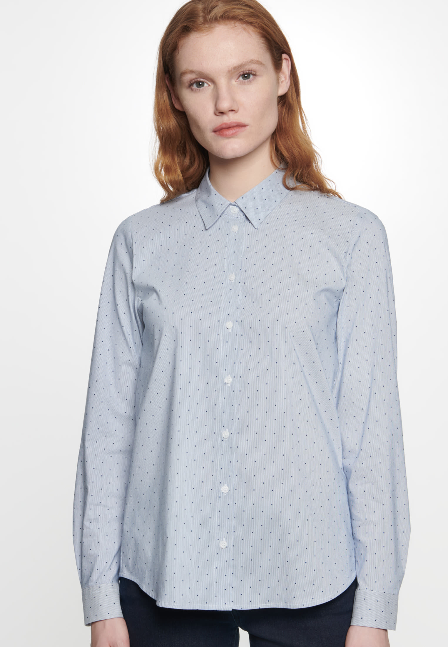 Poplin Shirt Blouse made of cotton blend in Medium blue |  Seidensticker Onlineshop