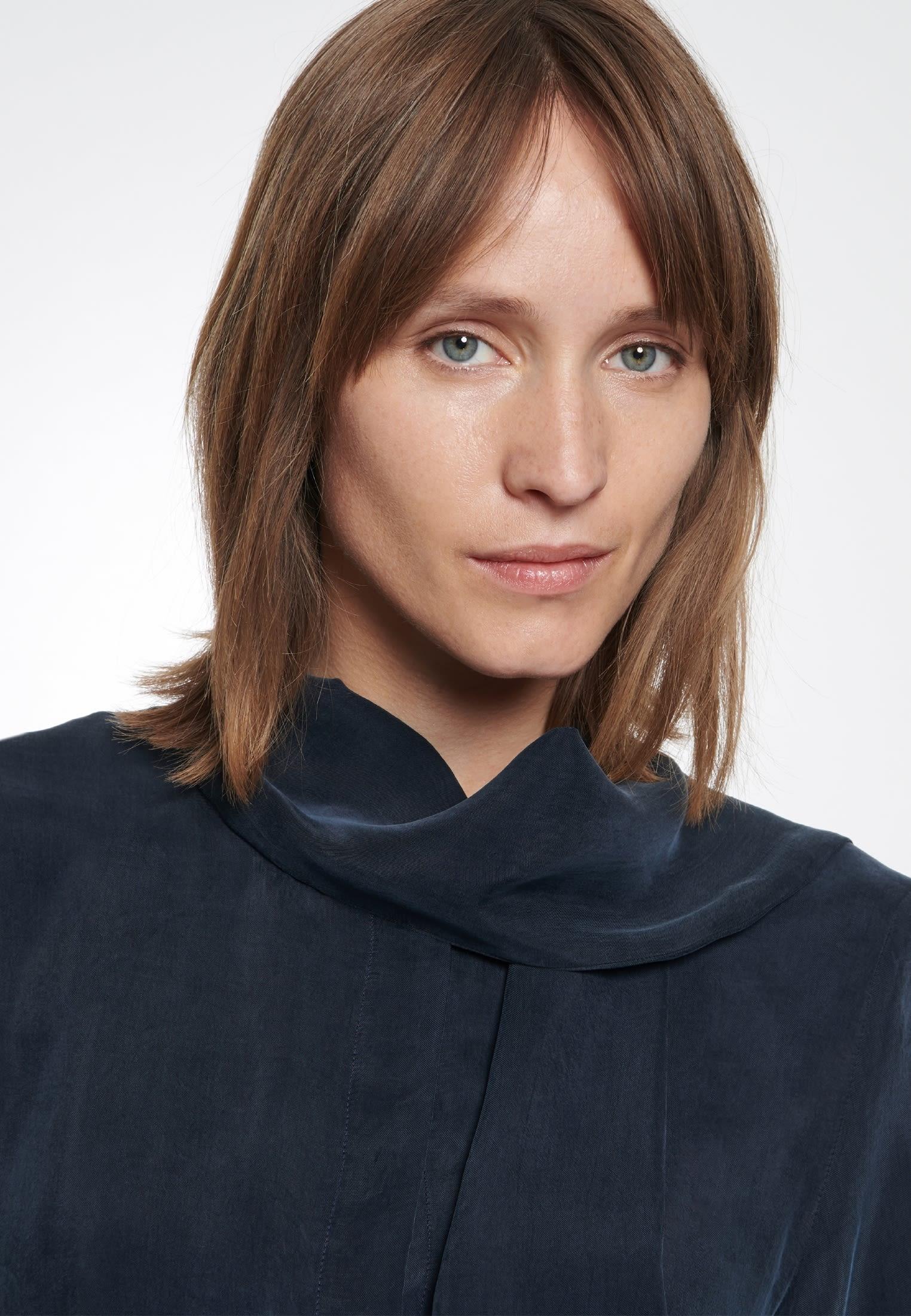 Midi Kleid aus Rayonmischung in Dunkelblau |  Seidensticker Onlineshop