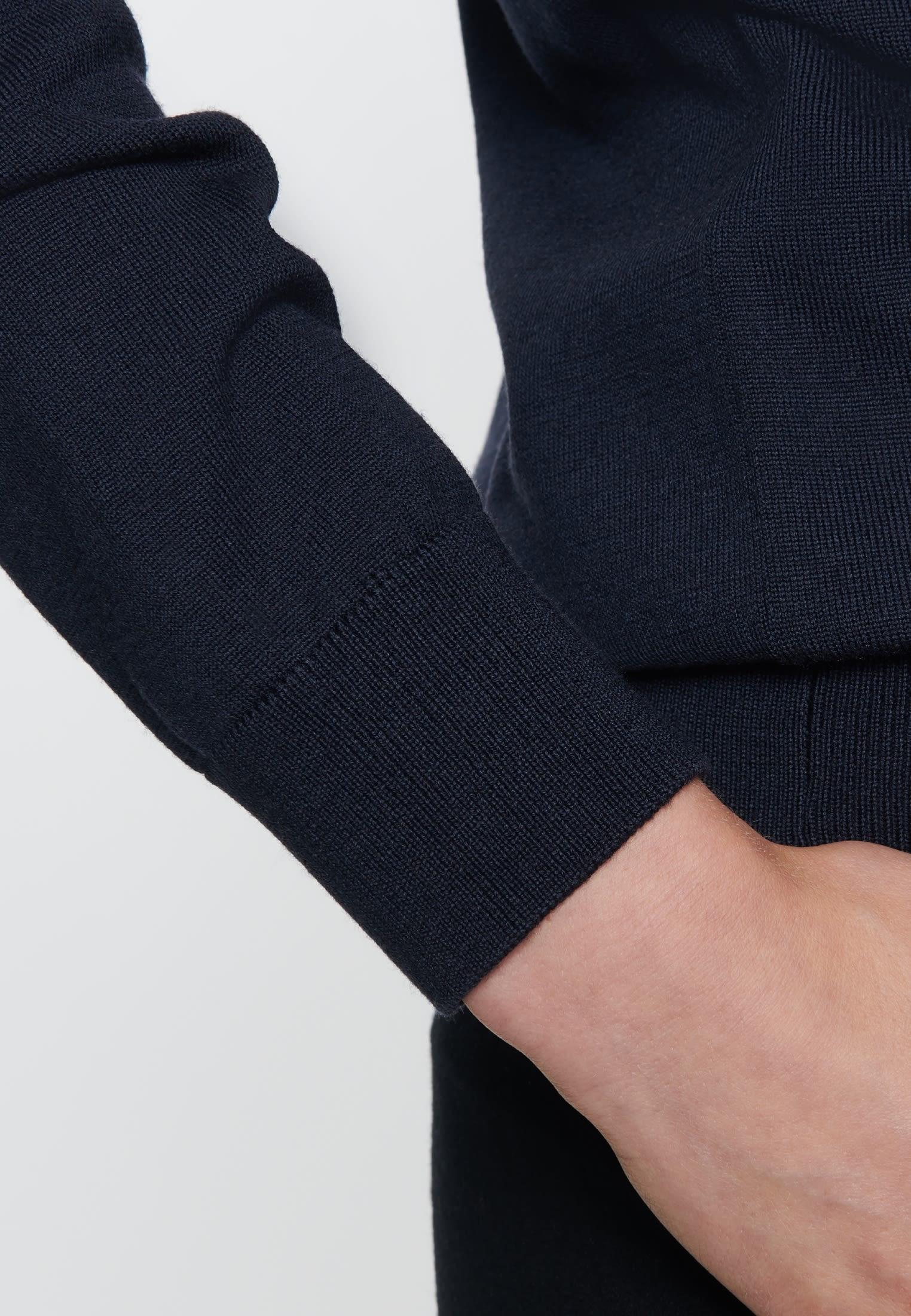 Rundhals Pullover aus 100% Wolle in Dunkelblau |  Seidensticker Onlineshop