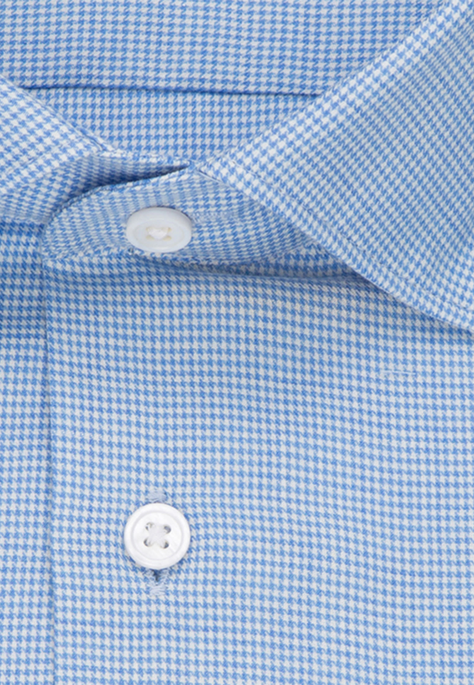 Easy-iron Pepita/tooth-peg check Business Shirt in Shaped with Kent-Collar in Light blue |  Seidensticker Onlineshop
