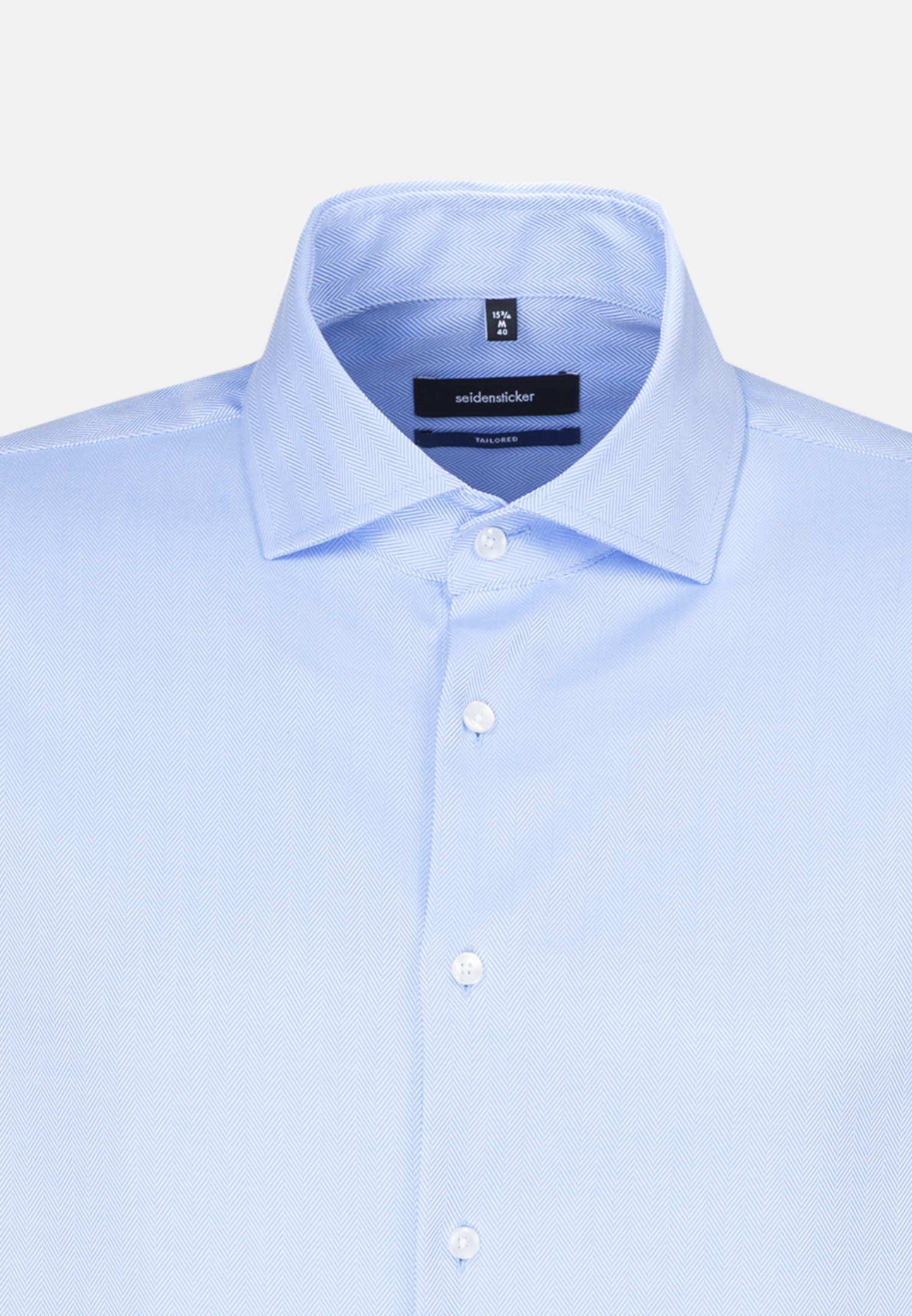 Easy-iron Herringbone pattern Business Shirt in Shaped with Kent-Collar in Light blue |  Seidensticker Onlineshop