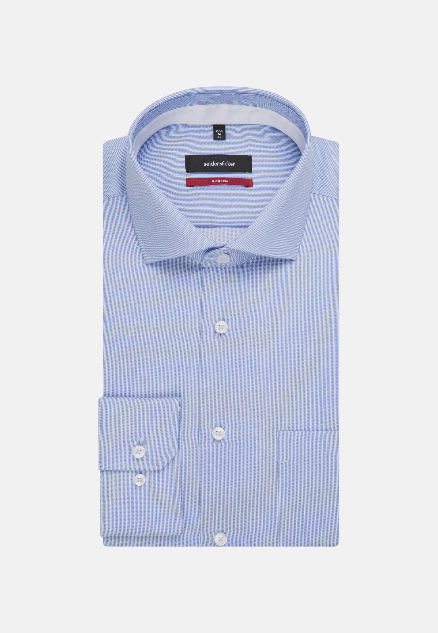 Non-iron Twill Business Shirt in Modern with Kent-Collar and extra long arm in Light blue |  Seidensticker Onlineshop