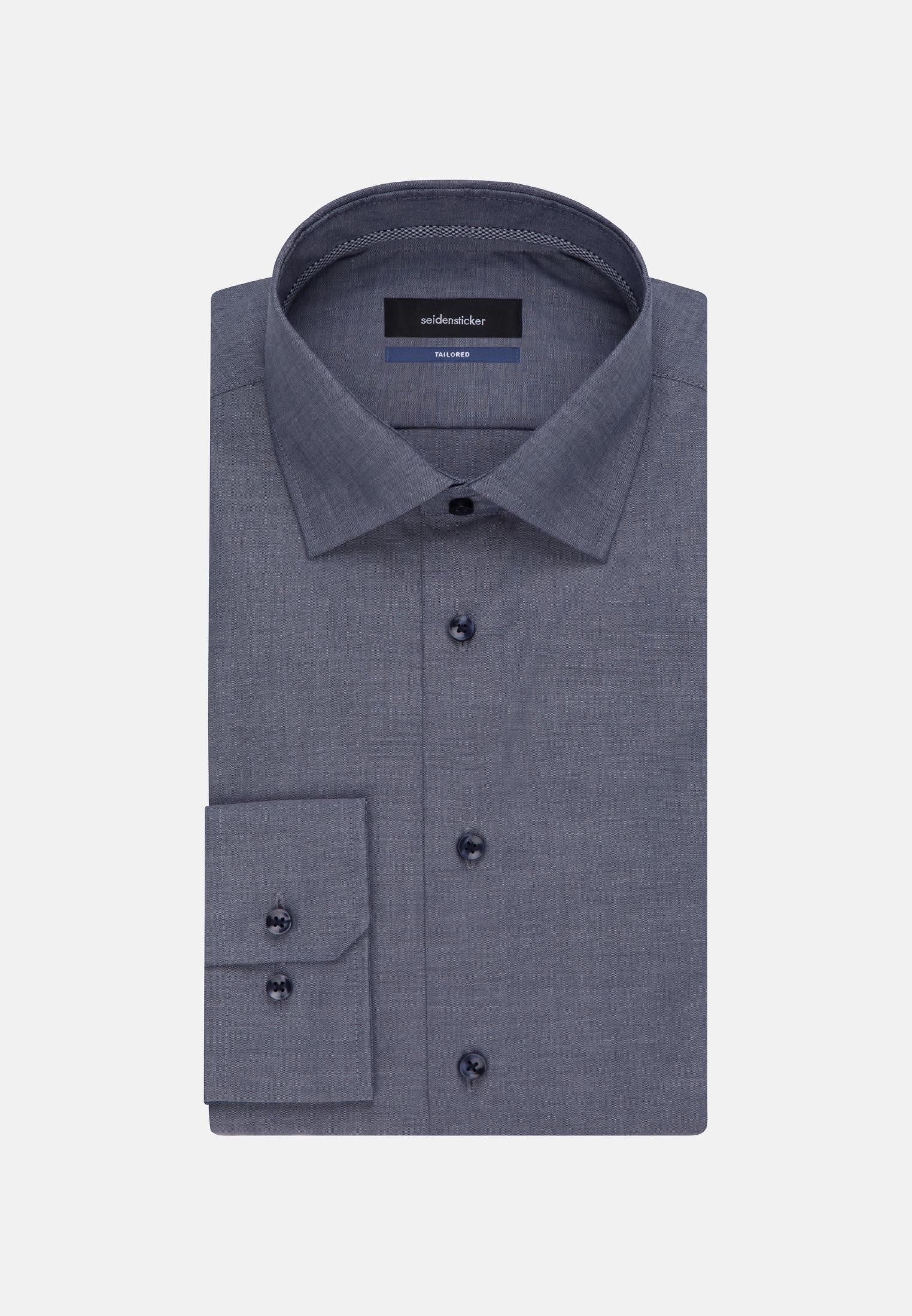 Bügelfreies Chambray Business Hemd in Shaped mit Kentkragen und extra langem Arm in Dunkelblau |  Seidensticker Onlineshop
