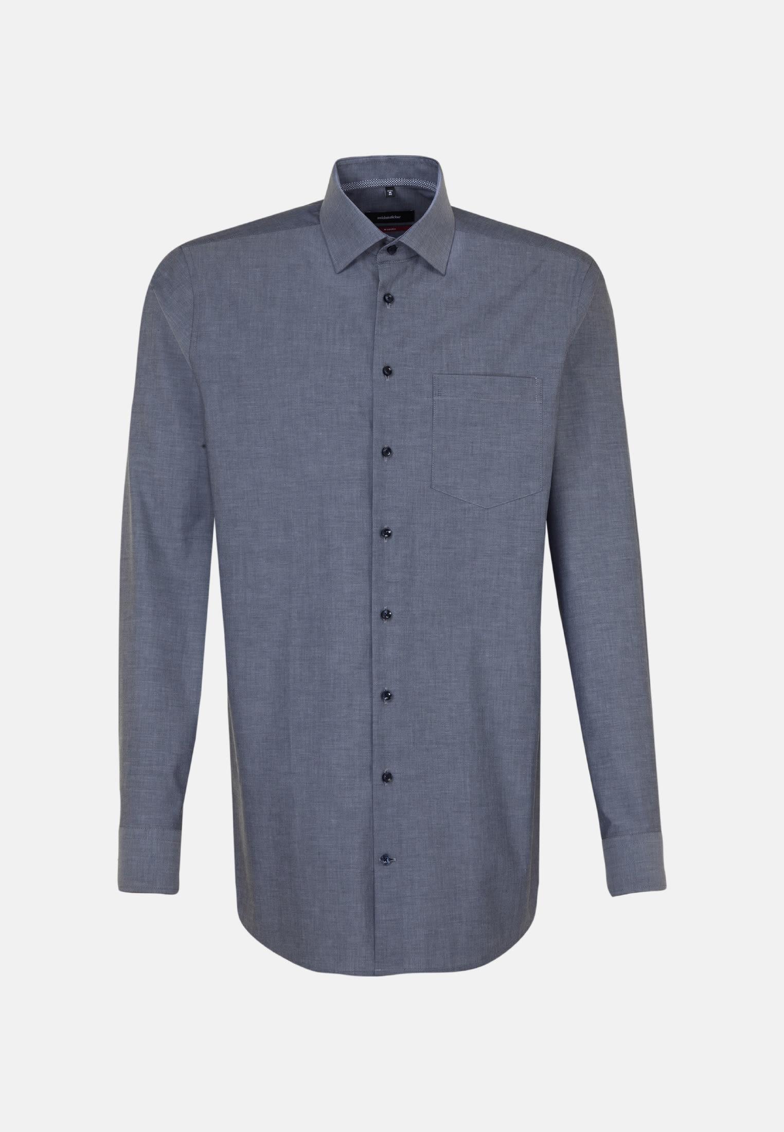 Non-iron Chambray Business Shirt in Comfort with Kent-Collar in Dark blue |  Seidensticker Onlineshop