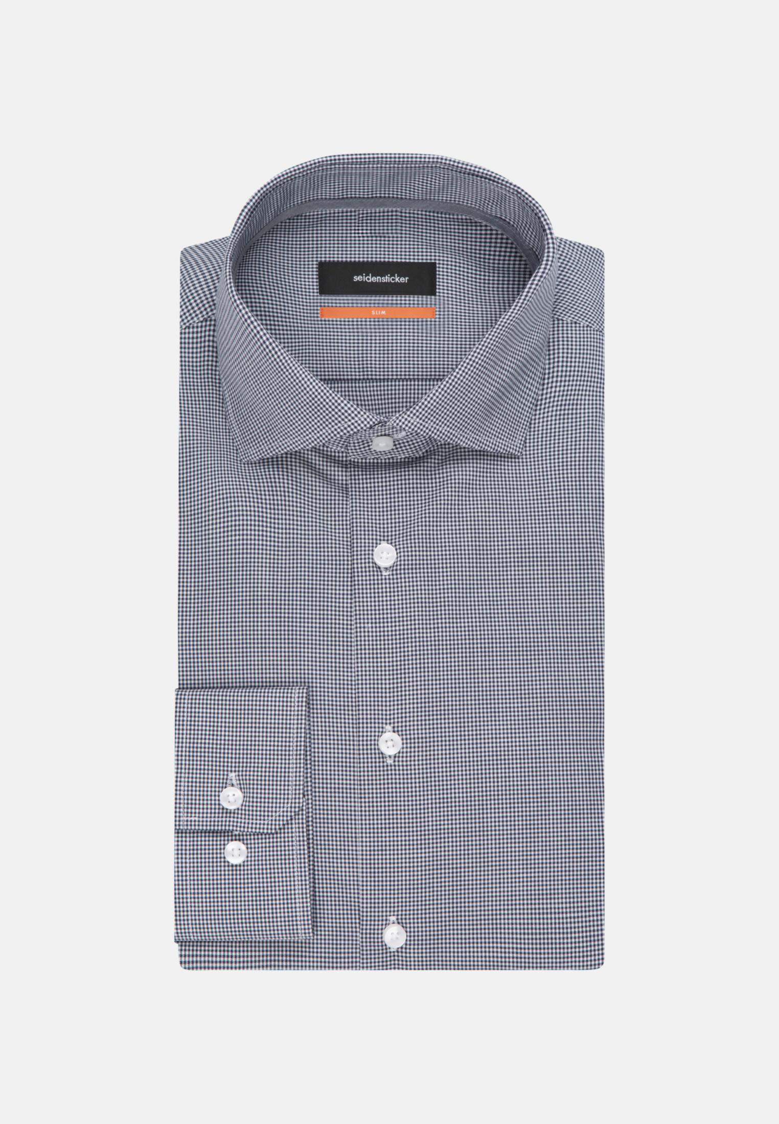 Bügelfreies Popeline Business Hemd in Slim mit Kentkragen und extra langem Arm in Dunkelblau |  Seidensticker Onlineshop