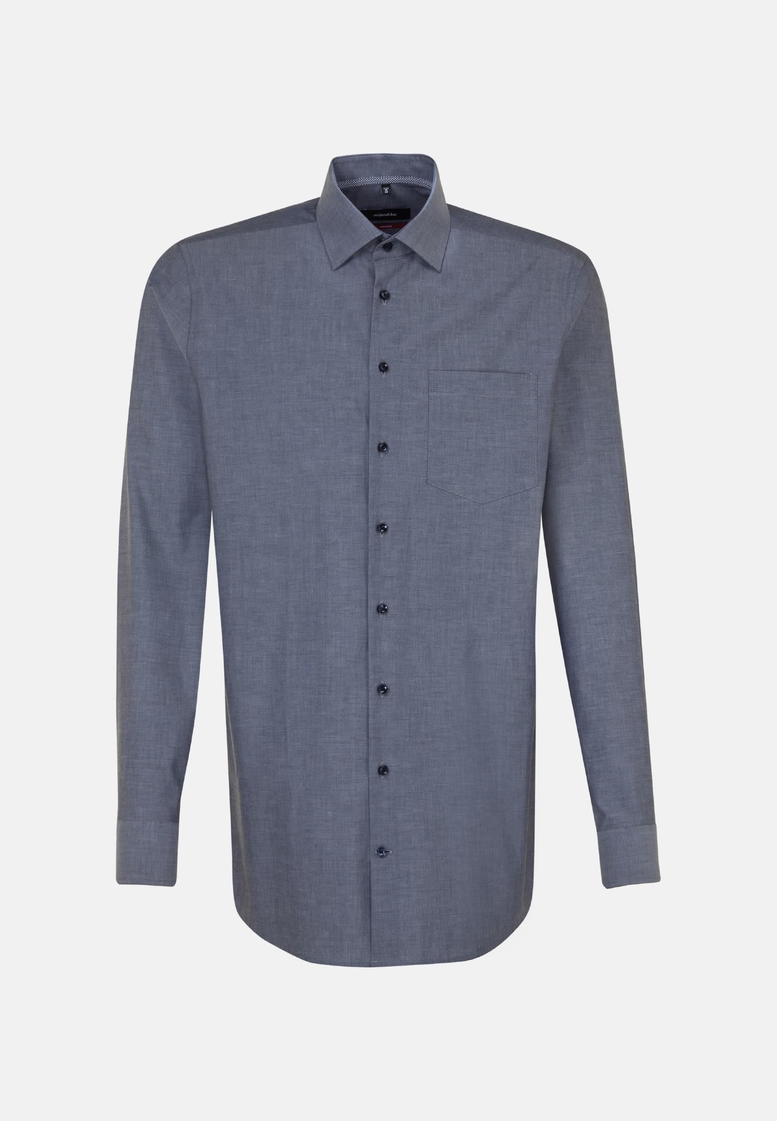 Bügelfreies Chambray Business Hemd in Modern mit Kentkragen und extra langem Arm in Dunkelblau |  Seidensticker Onlineshop