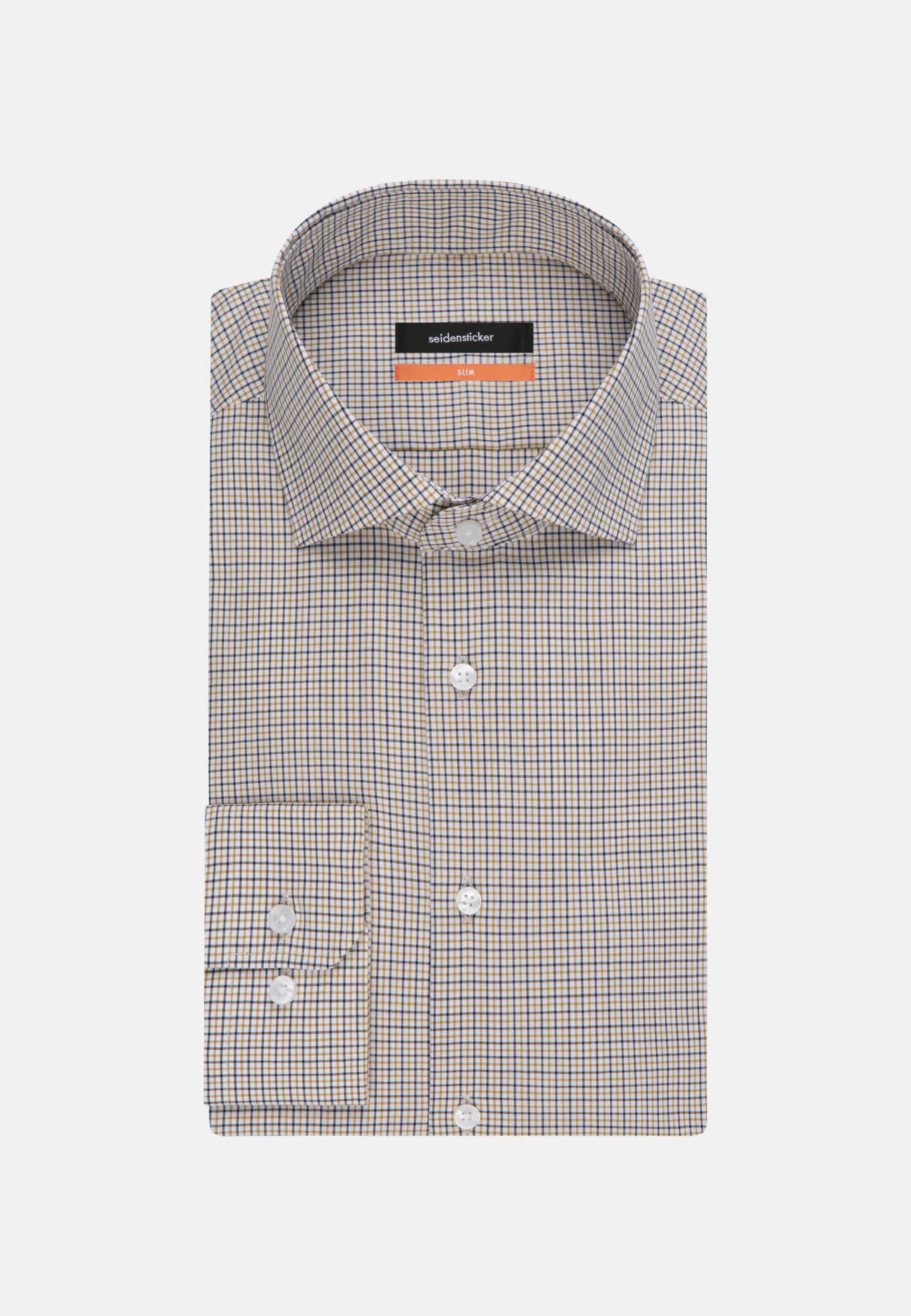 Non-iron Poplin Business Shirt in Slim with Kent-Collar in Yellow |  Seidensticker Onlineshop